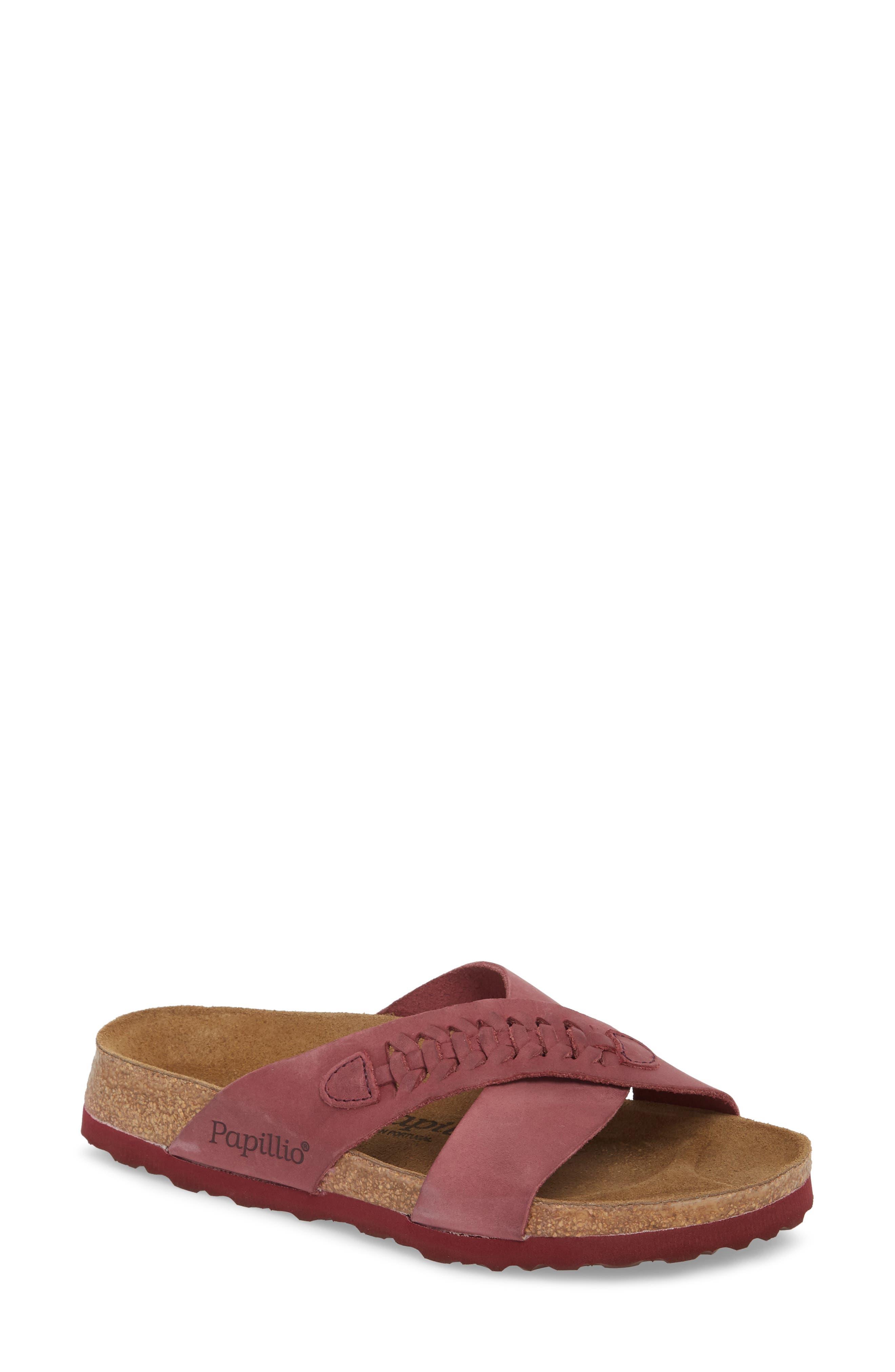 Papillio by Birkenstock Daytona Slide Sandal,                             Main thumbnail 1, color,                             Woven Wine Nubuck