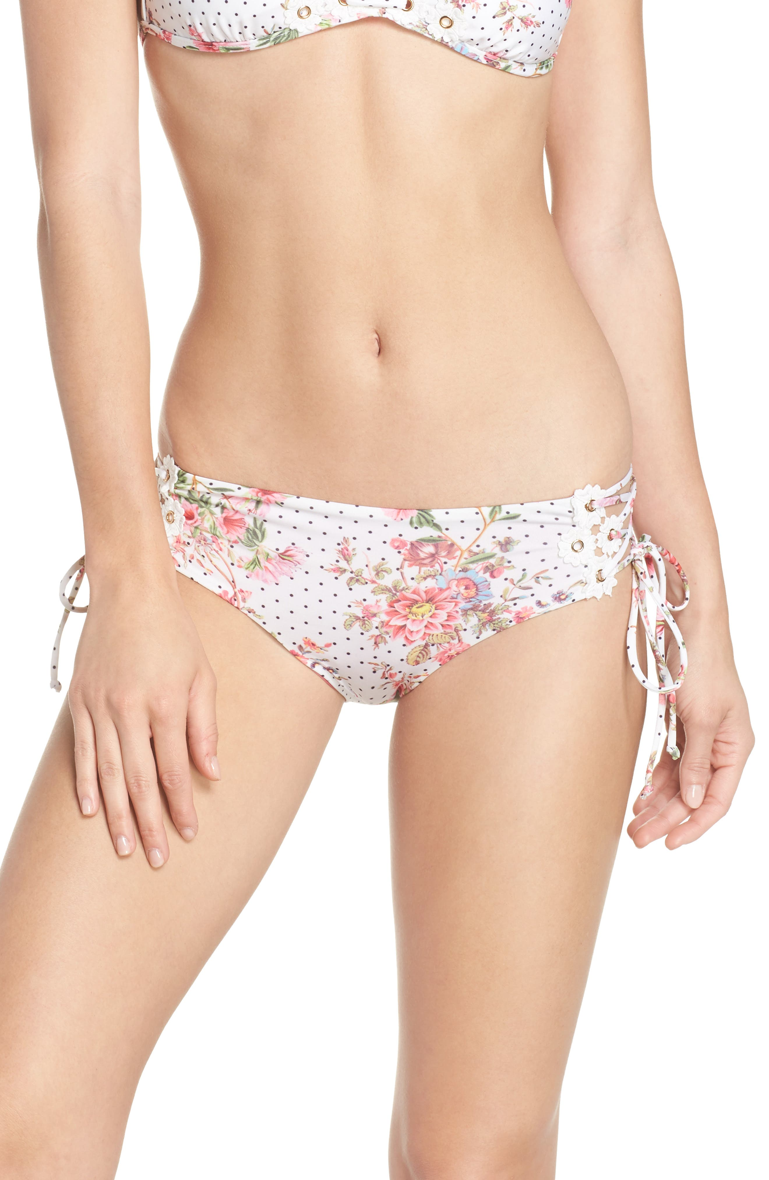 A Bit of Bubbly Lace-Up Bikini Bottoms,                         Main,                         color, White Multi