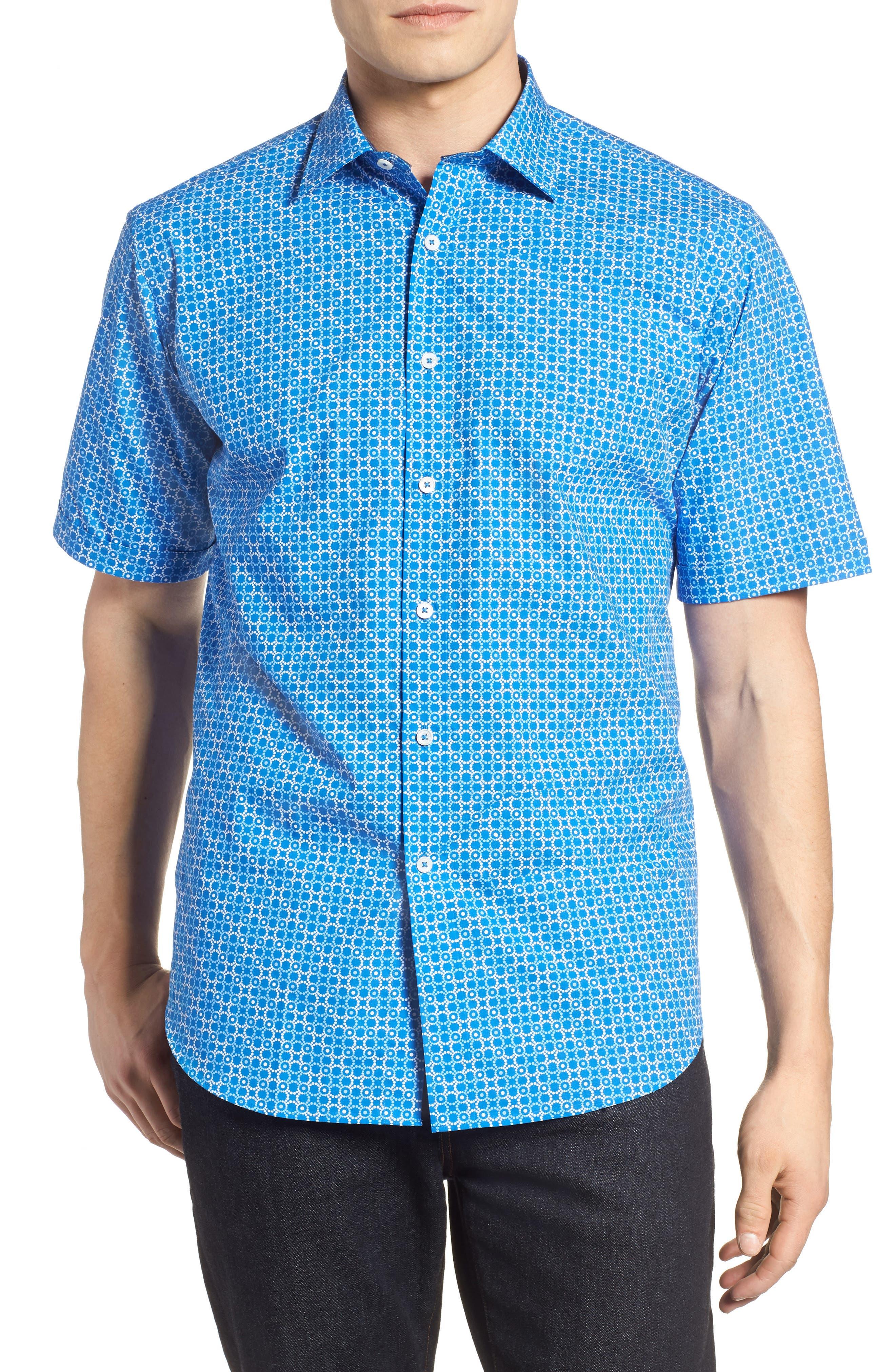 Classic Fit Circle Grid Sport Shirt,                         Main,                         color, Classic Blue