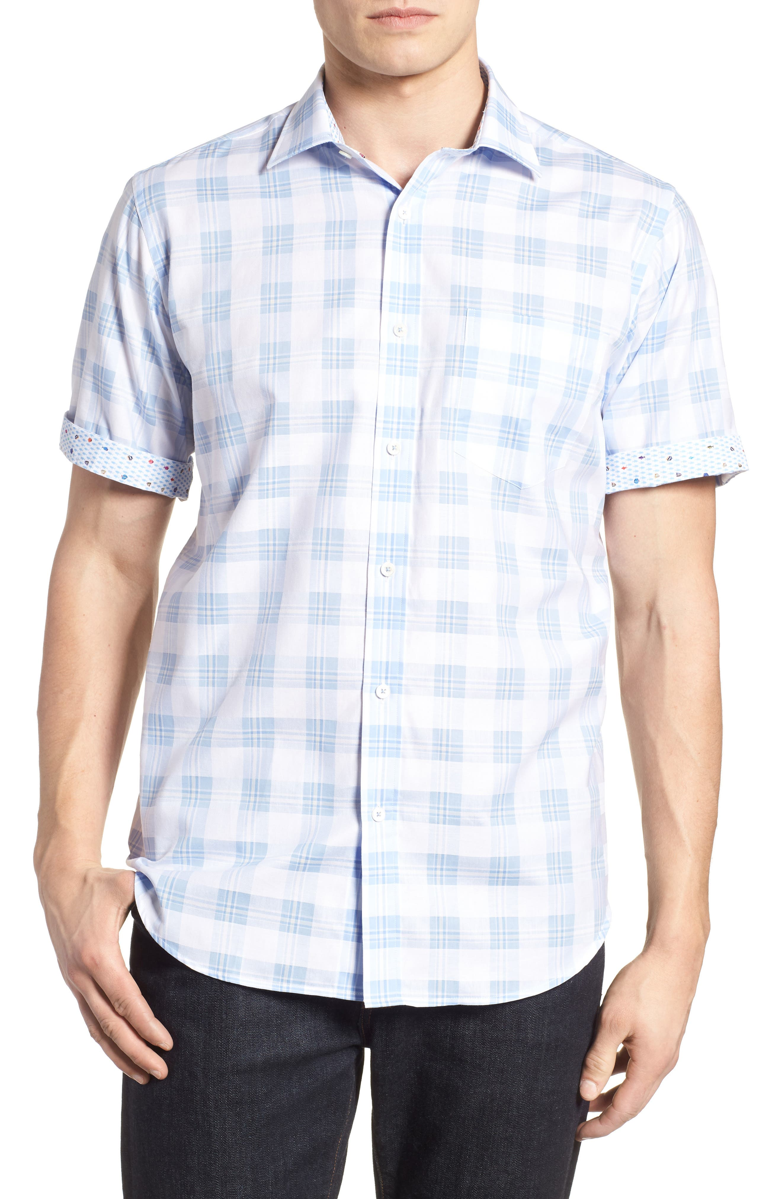 Classic Fit Tartan Check Sport Shirt,                             Alternate thumbnail 4, color,                             Sky