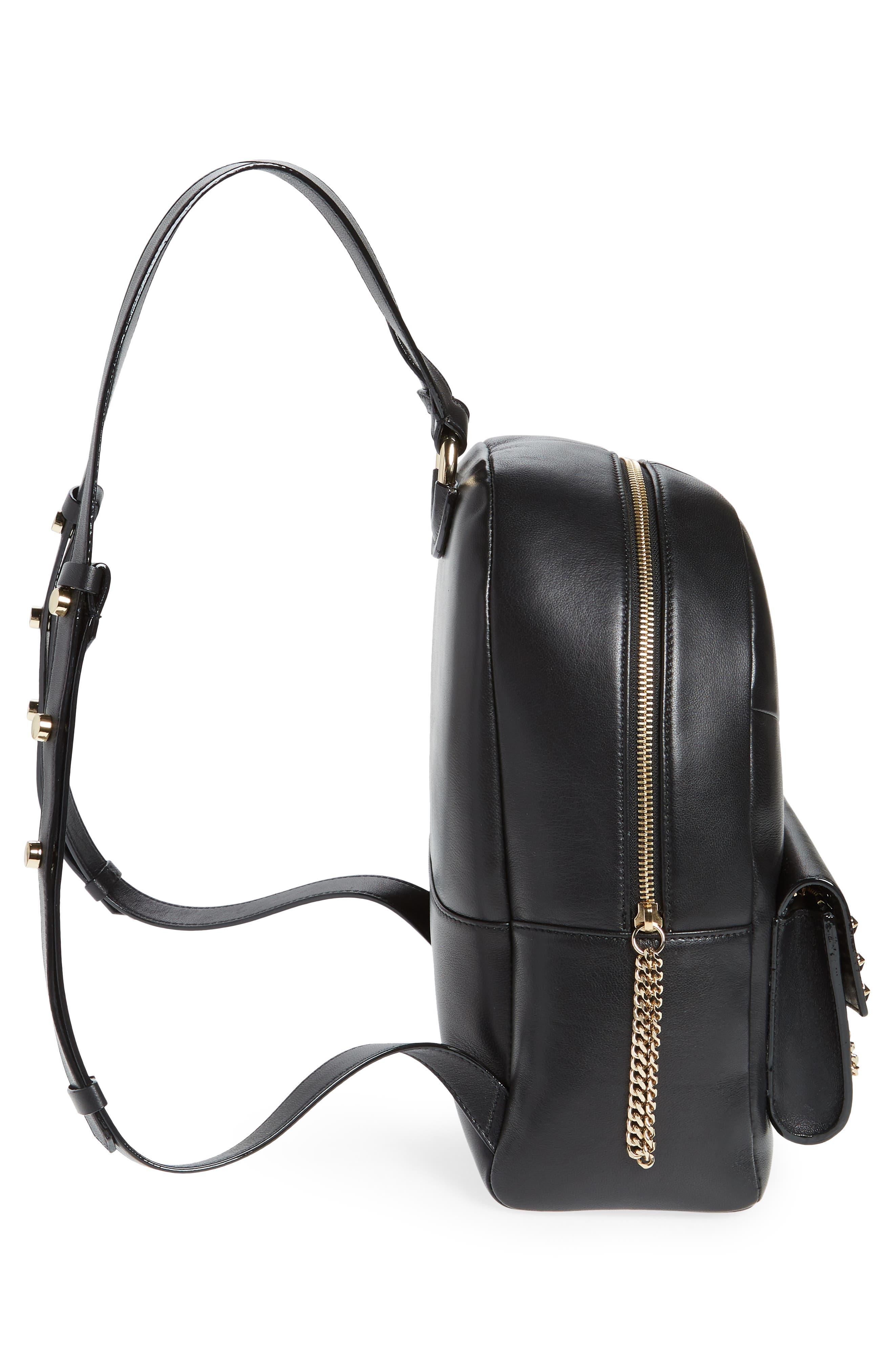 Cassie Star Studded Lambskin Leather Backpack,                             Alternate thumbnail 5, color,                             Black