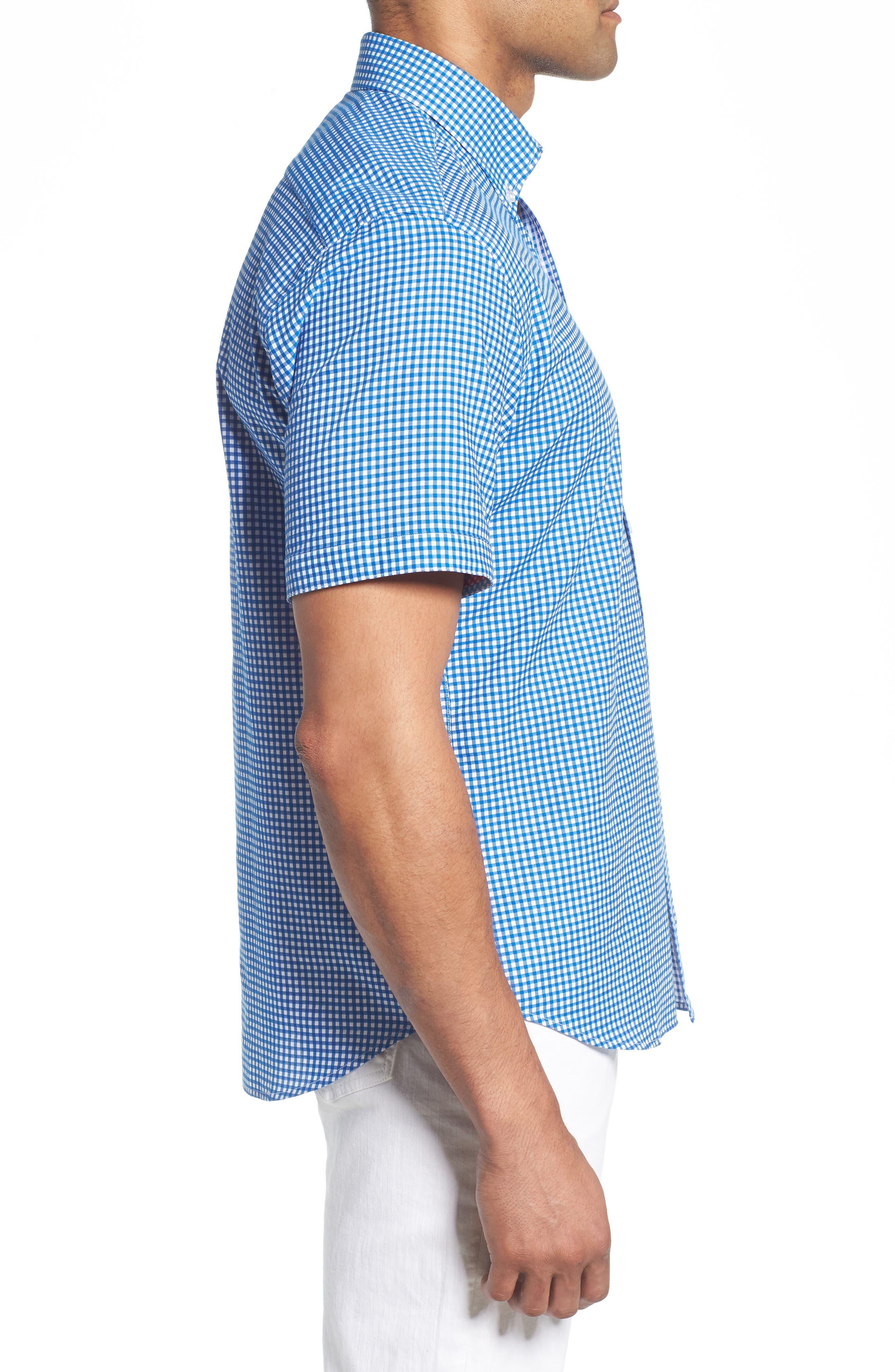 Abel Regular Fit Mini Check Sport Shirt,                             Alternate thumbnail 4, color,                             Royal