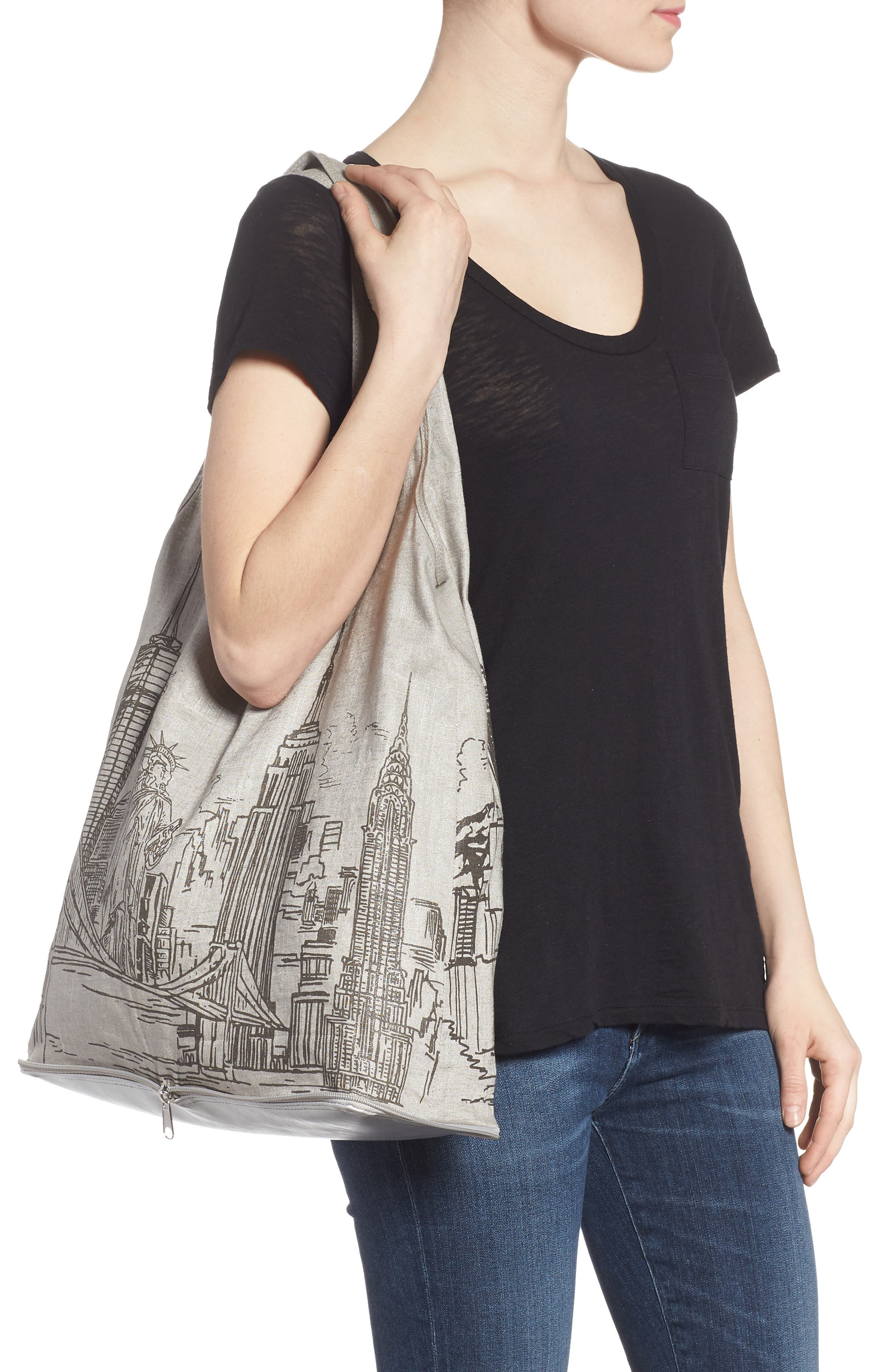 Packable Print Shopper,                             Alternate thumbnail 2, color,                             Silver