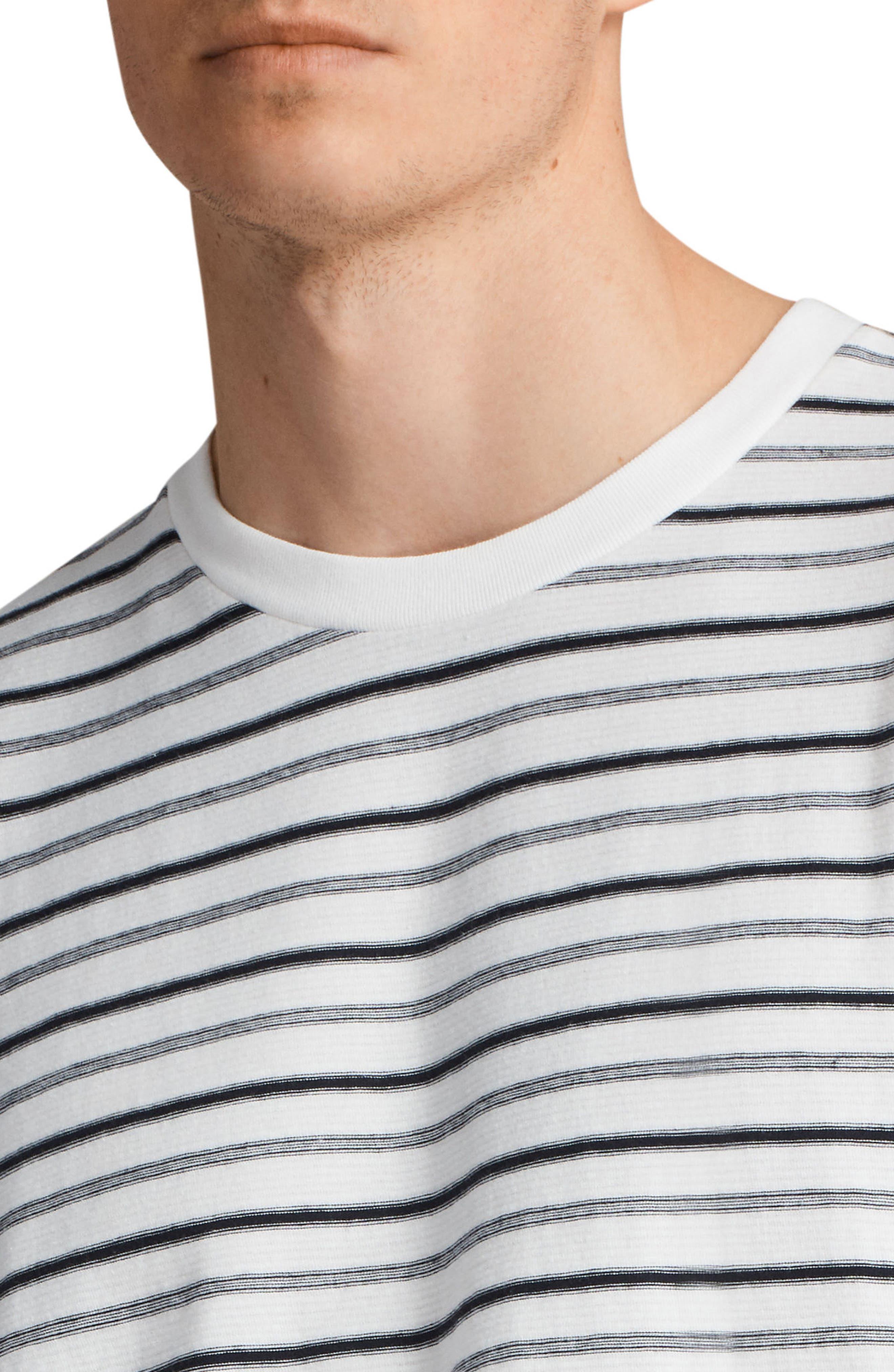 Jules Oversize Stripe T-Shirt,                             Alternate thumbnail 4, color,                             Chk White/ Ink Navy