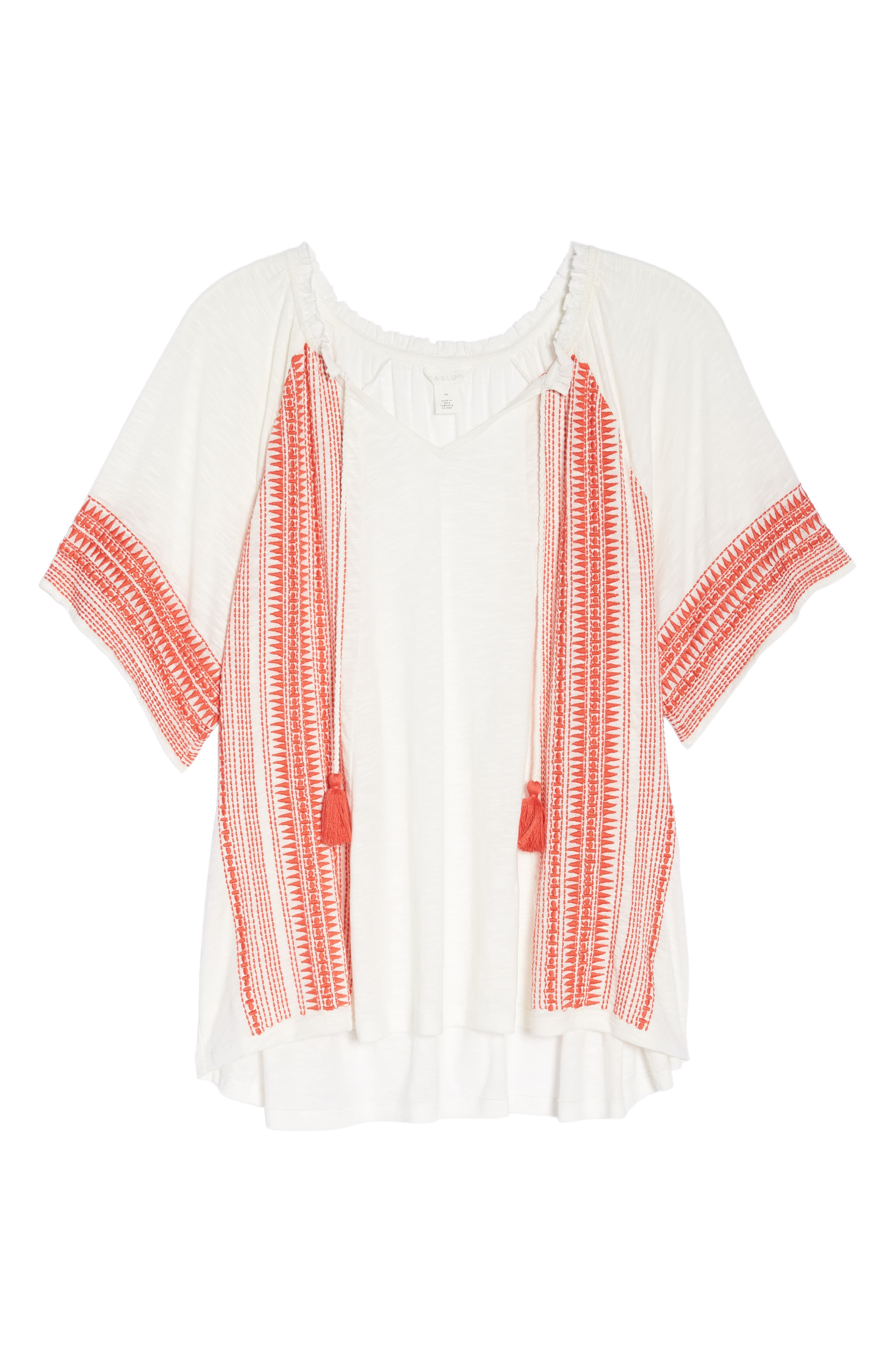 Embroidered Border Peasant Top,                             Alternate thumbnail 3, color,                             Ivory- Coral Dita