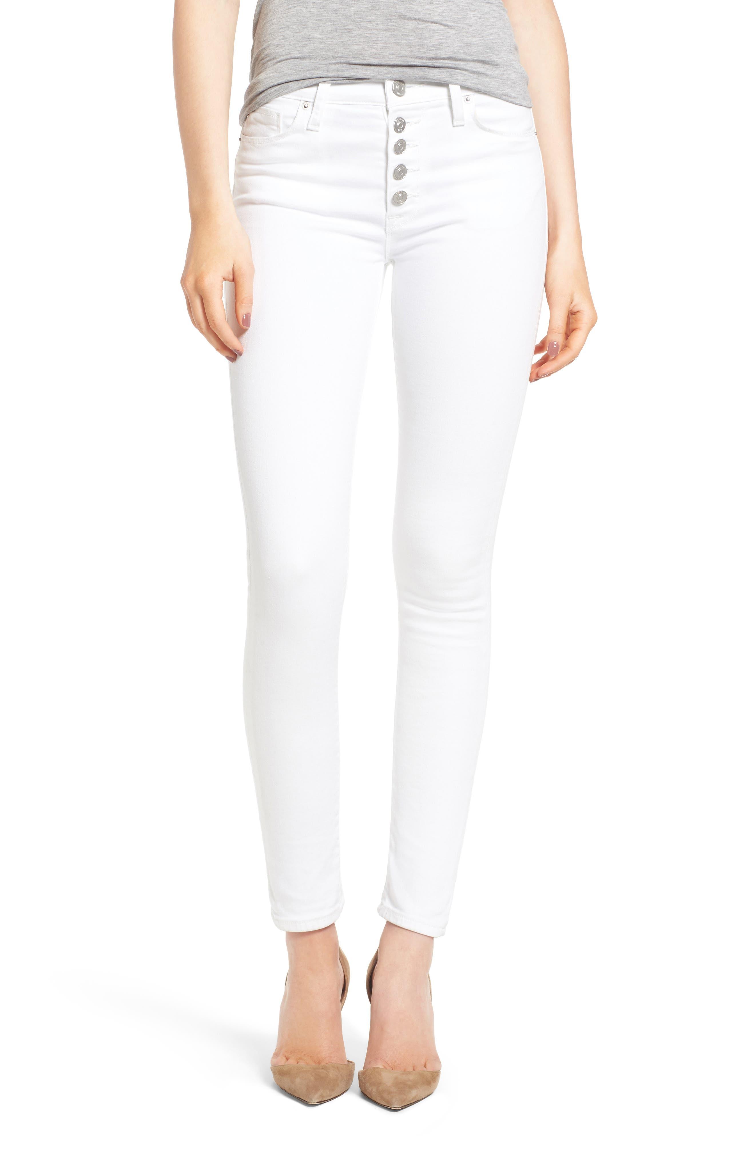 Hudson Jeans Barbara High Waist Super Skinny Jeans (Optical White)