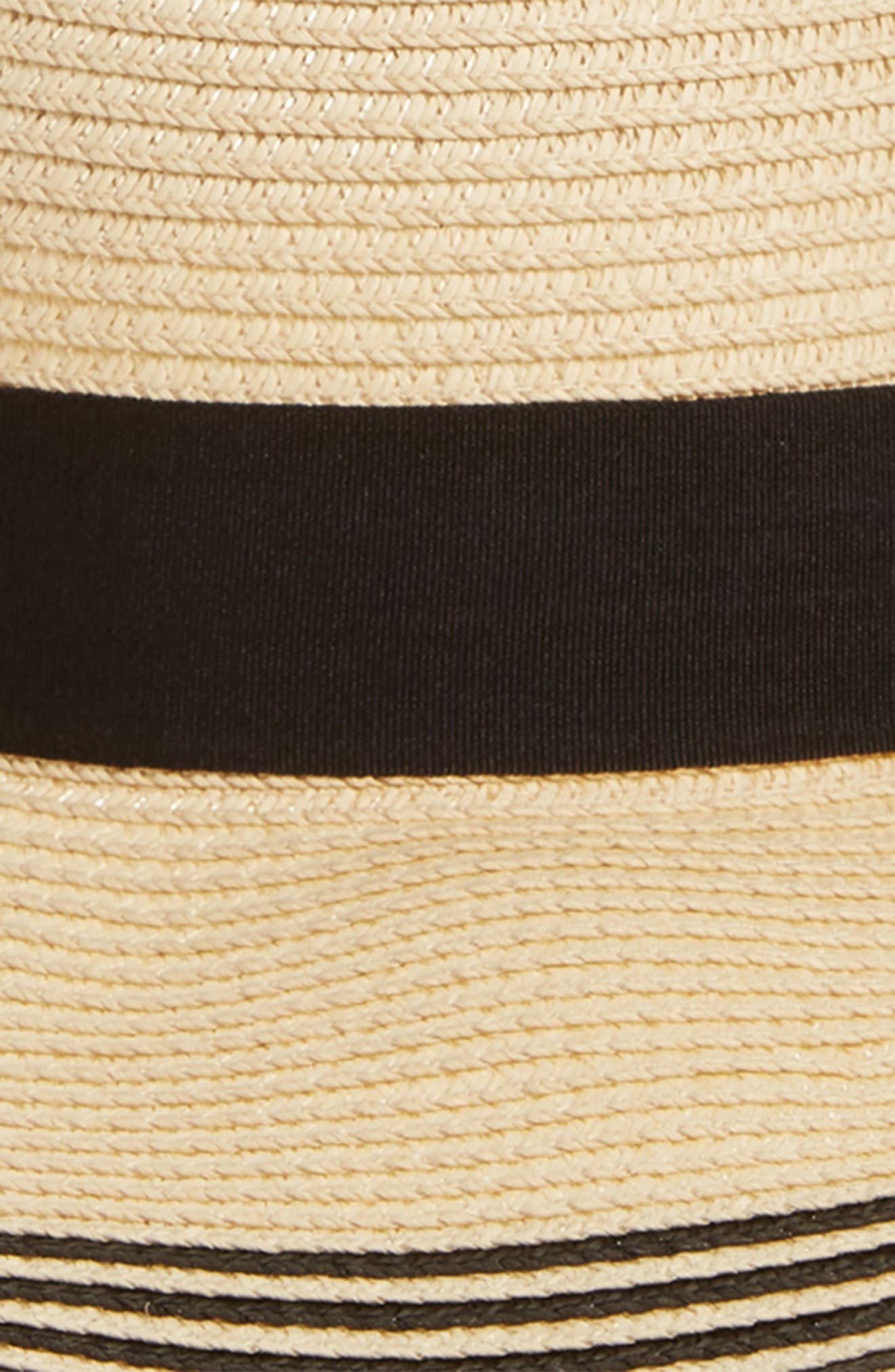 Stripe Brim Straw Hat,                             Alternate thumbnail 2, color,                             Natural/ Black