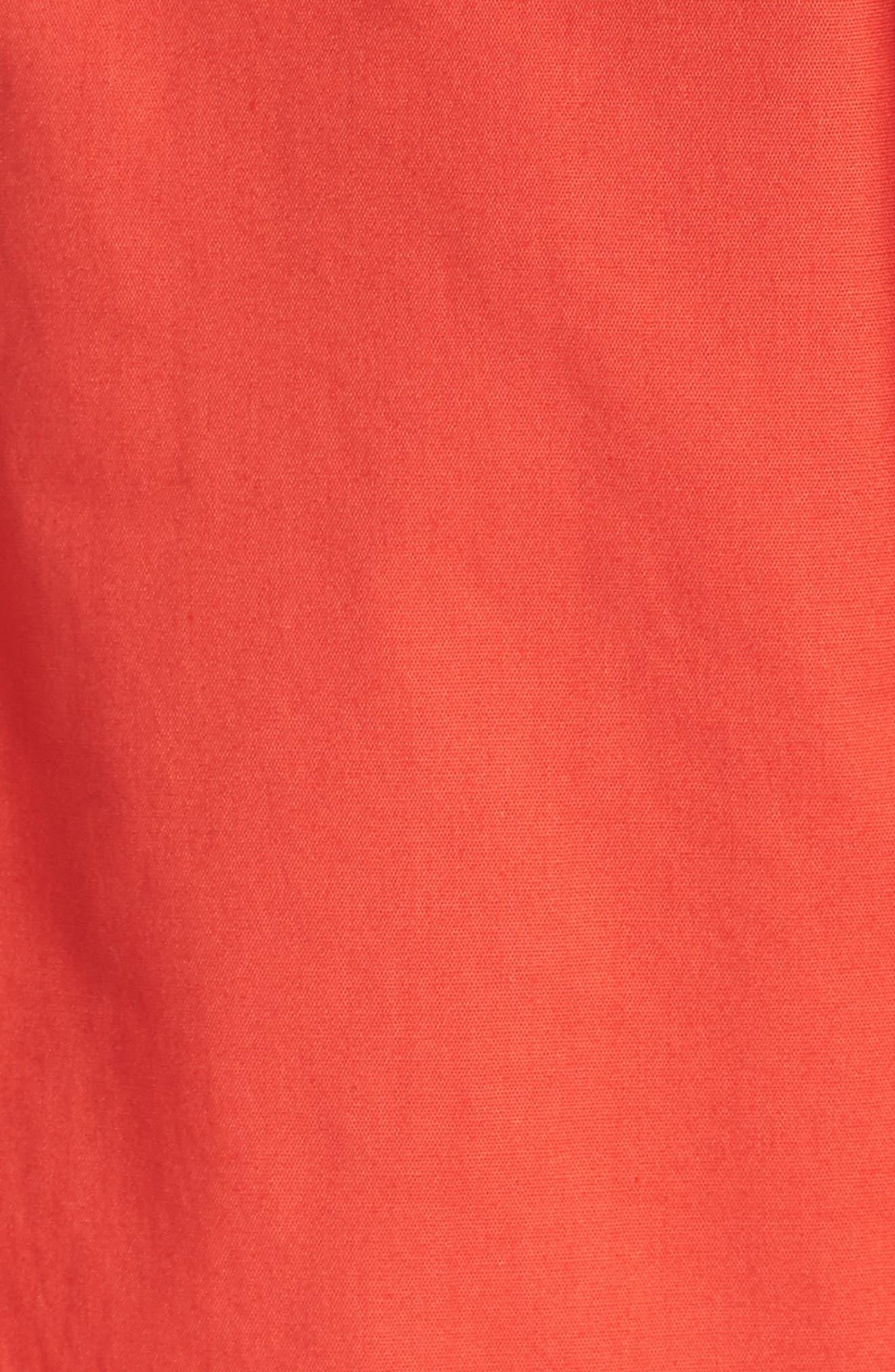 Ruffle Trim Poplin Wrap Dress,                             Alternate thumbnail 6, color,                             Coral