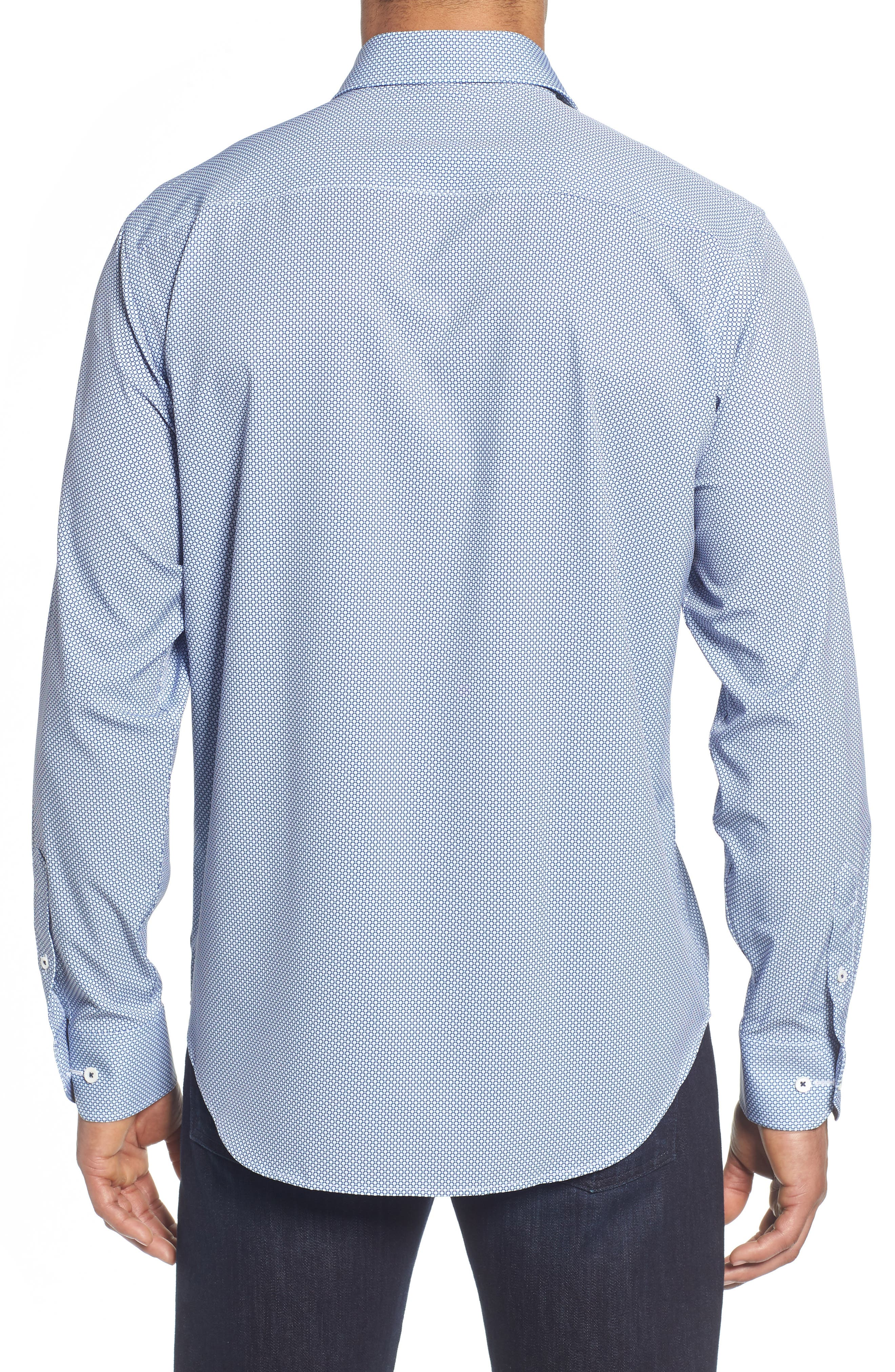 Classic Fit Stacked Circles Performance Sport Shirt,                             Alternate thumbnail 3, color,                             Navy