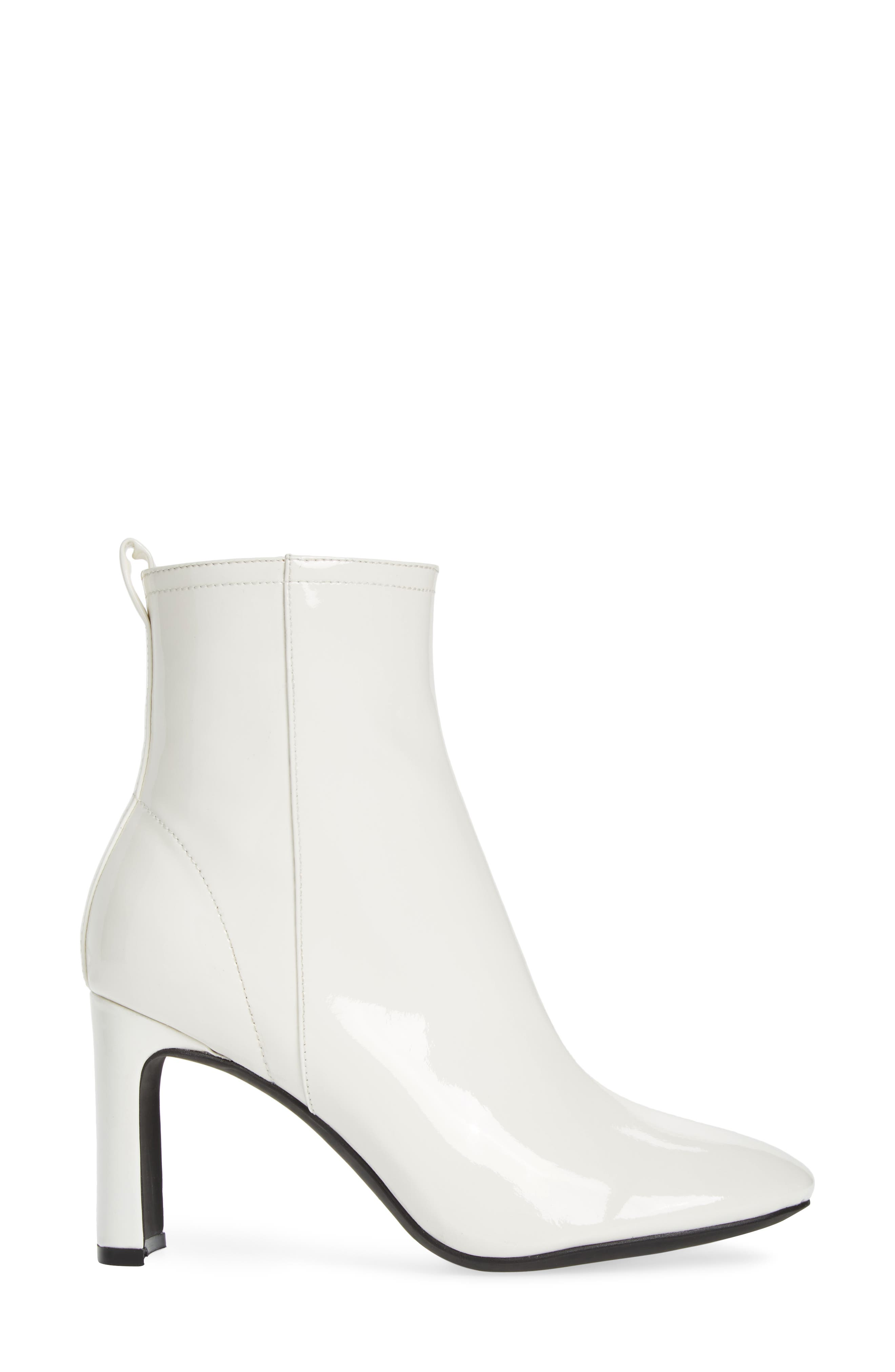 Chapel Curved Heel Bootie,                             Alternate thumbnail 3, color,                             White Patent Leather