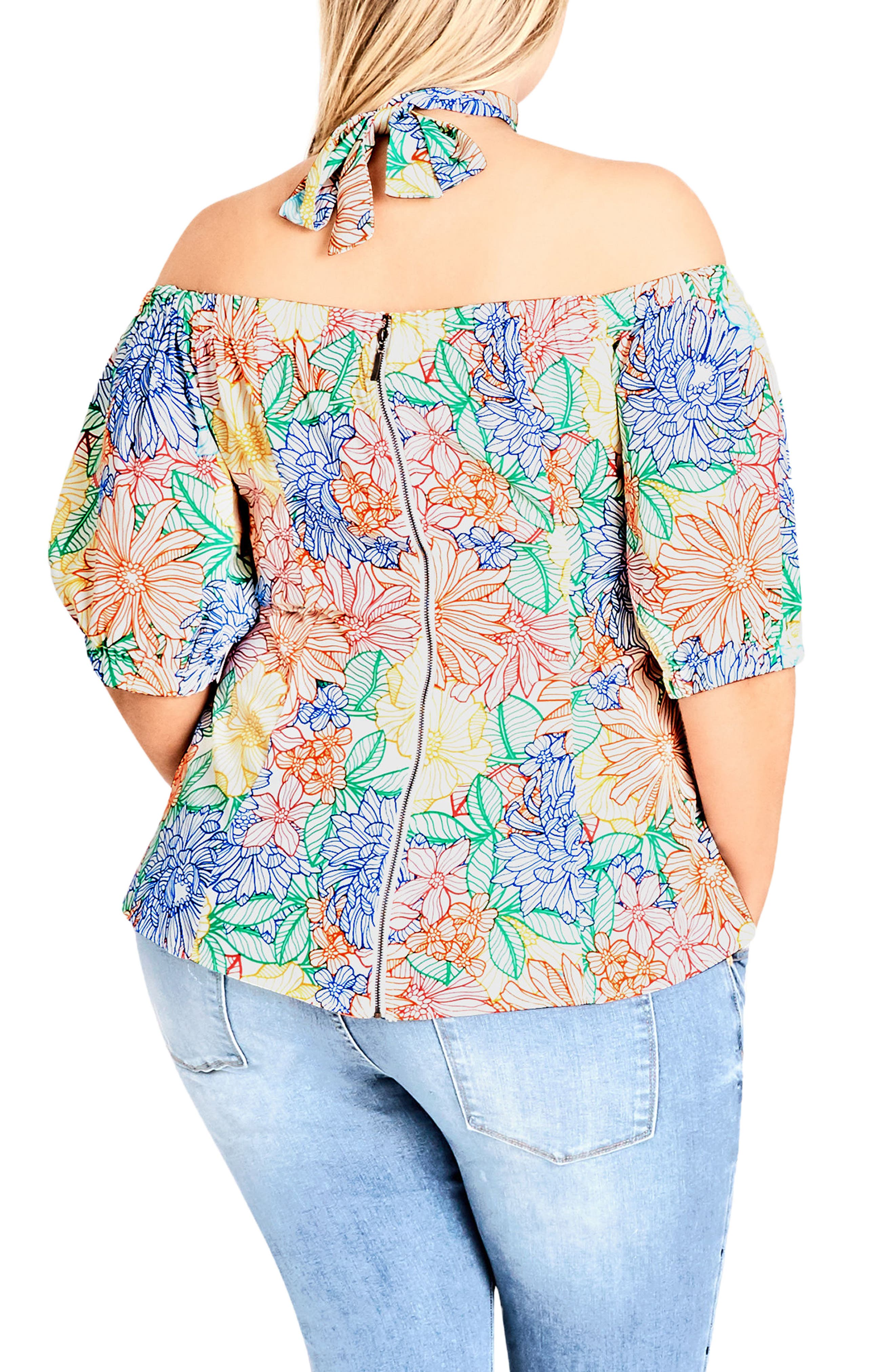 Etched Bloom Top with Choker,                             Alternate thumbnail 2, color,                             Etched Bloom