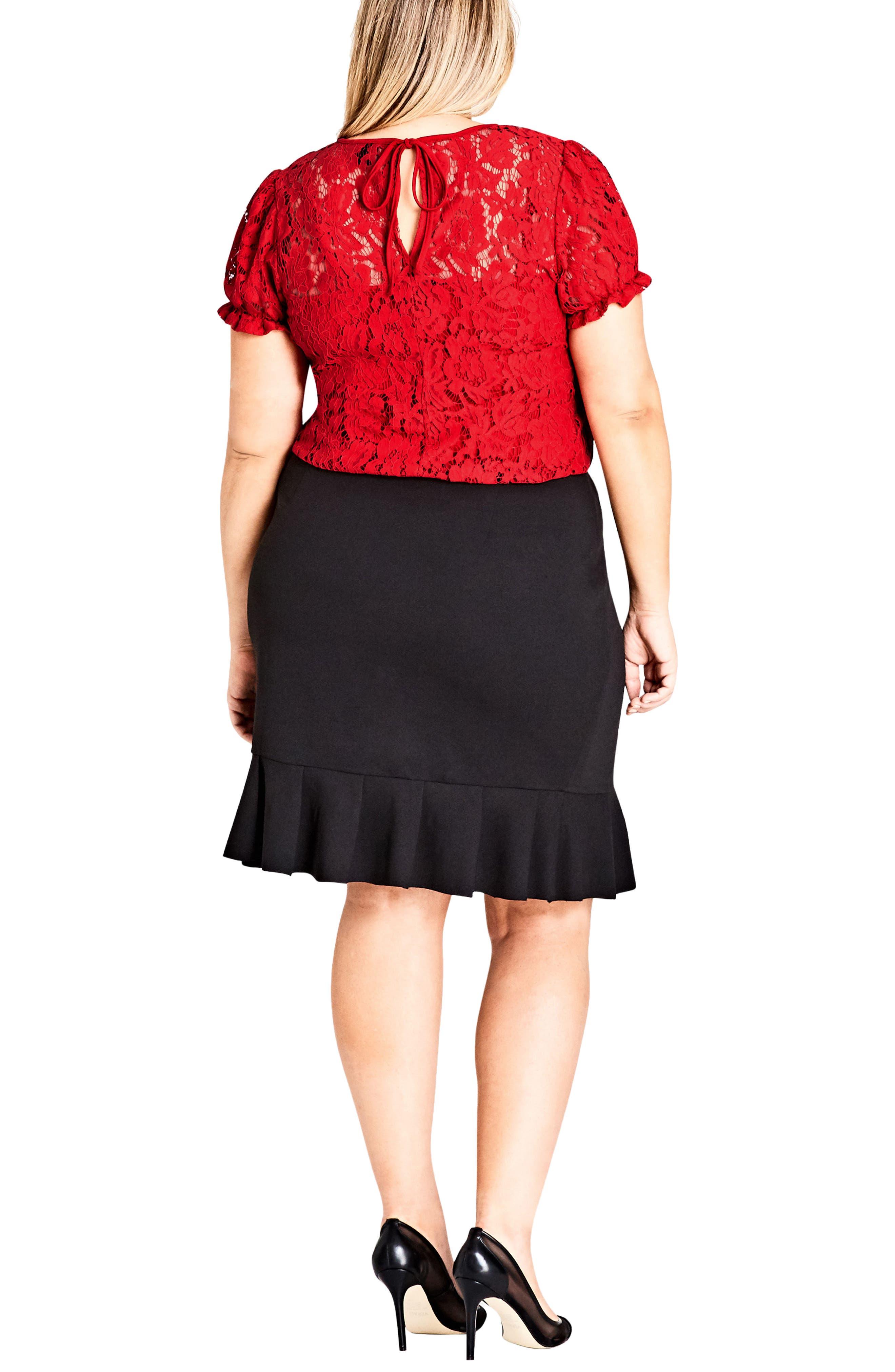 Ruffle Faux Wrap Skirt,                             Alternate thumbnail 2, color,                             Black