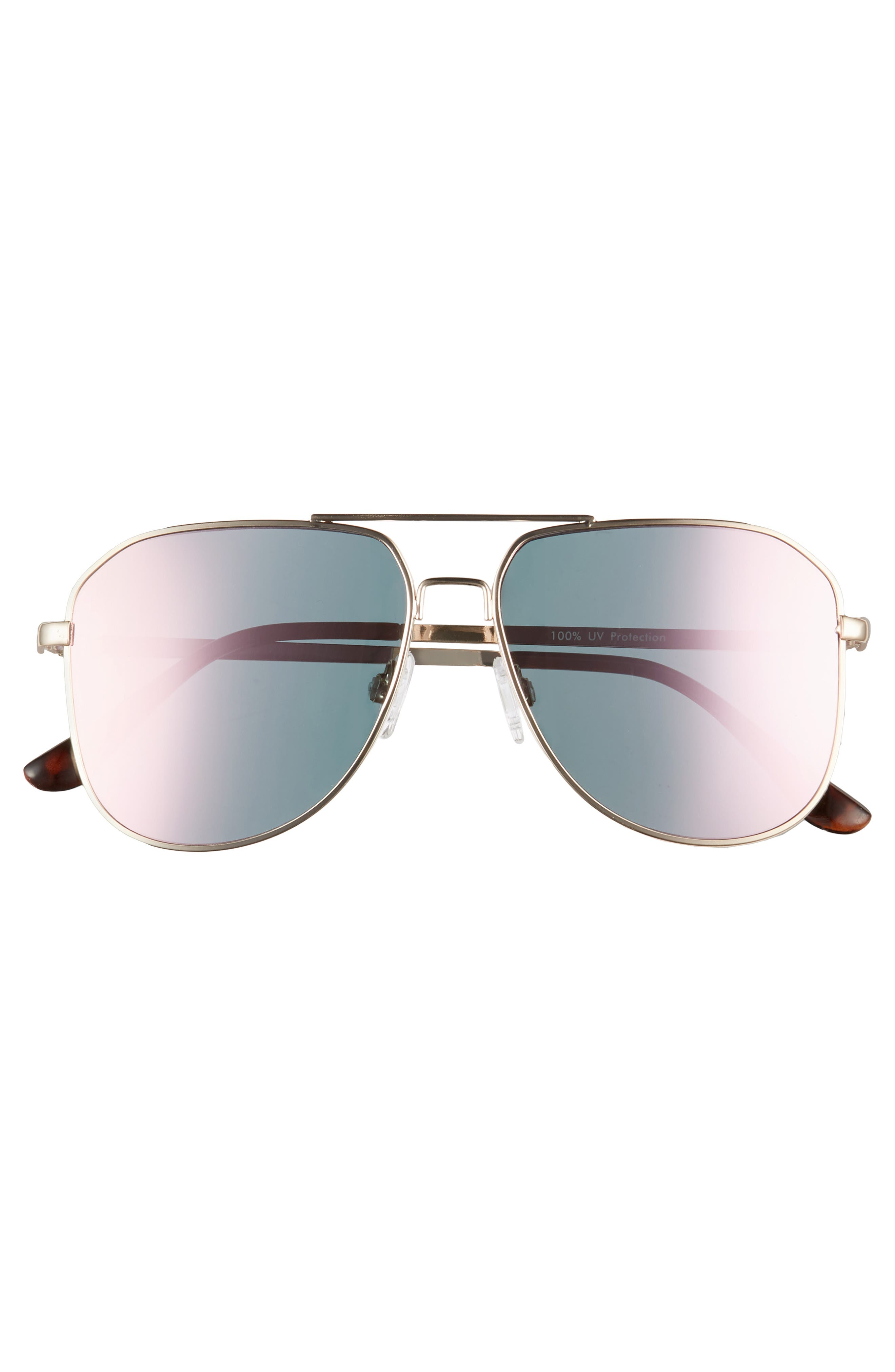54mm Aviator Sunglasses,                             Alternate thumbnail 3, color,                             Gold/ Pink
