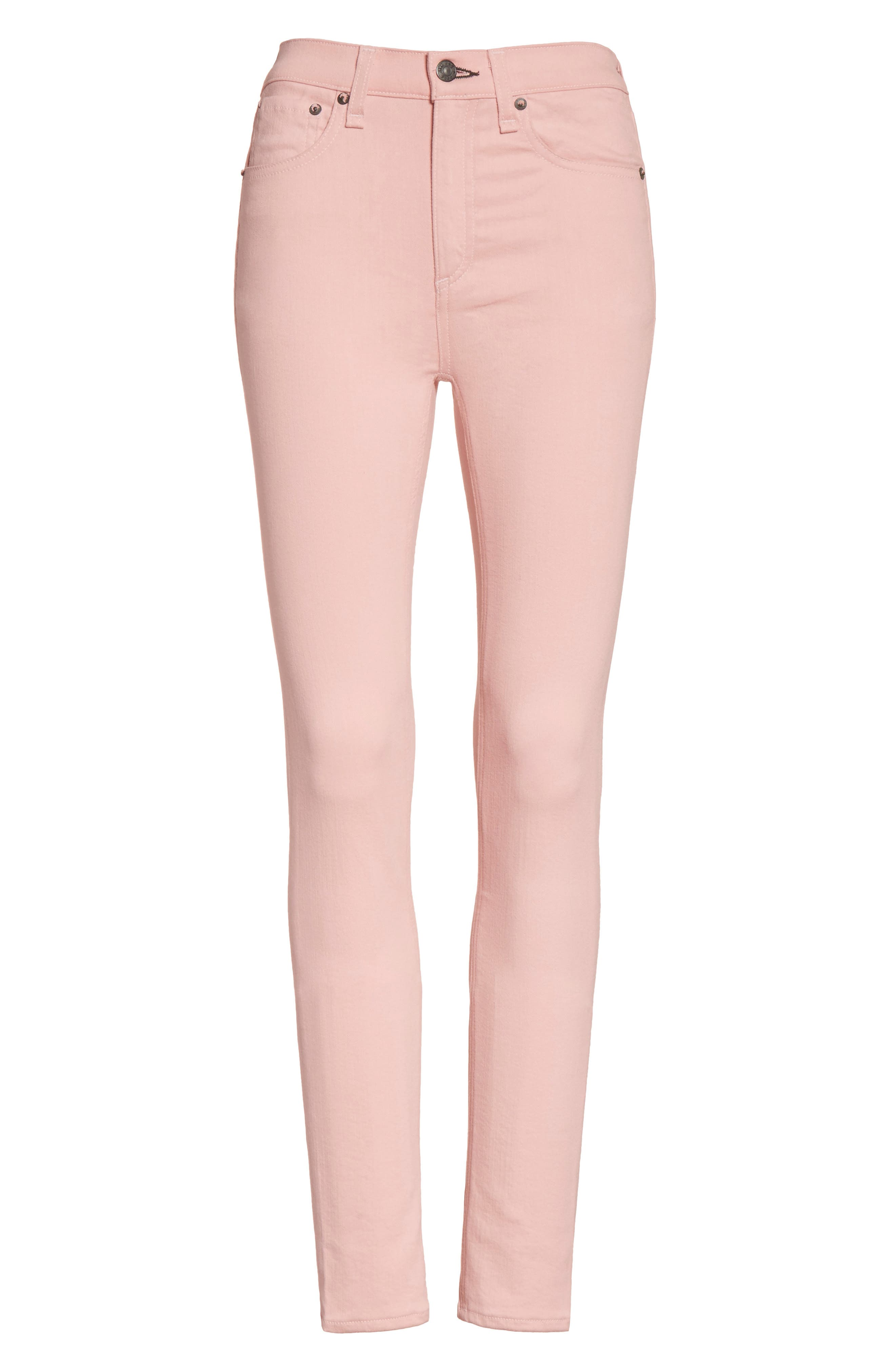 High Waist Skinny Jeans,                             Alternate thumbnail 7, color,                             Blush Twill