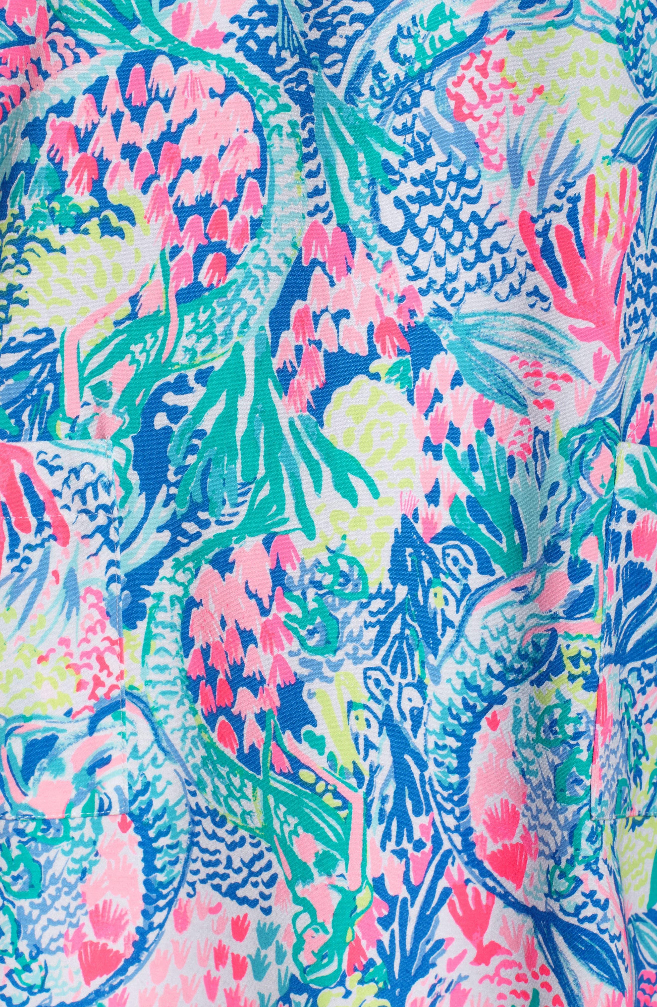 Kelby Stretch Shift Dress,                             Alternate thumbnail 5, color,                             Multi Mermaids Cove