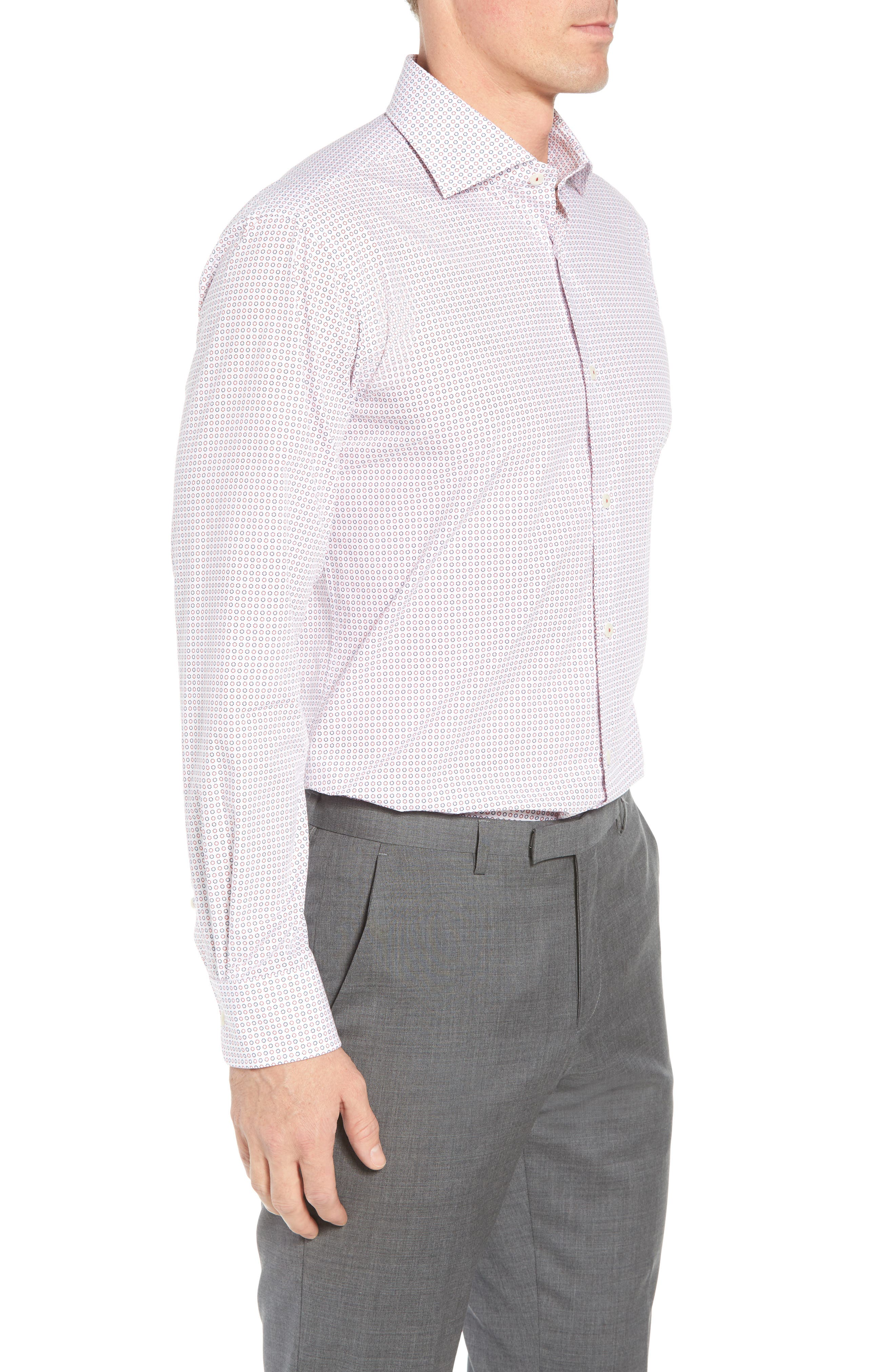 Trim Fit Dot Dress Shirt,                             Alternate thumbnail 4, color,                             Ruby