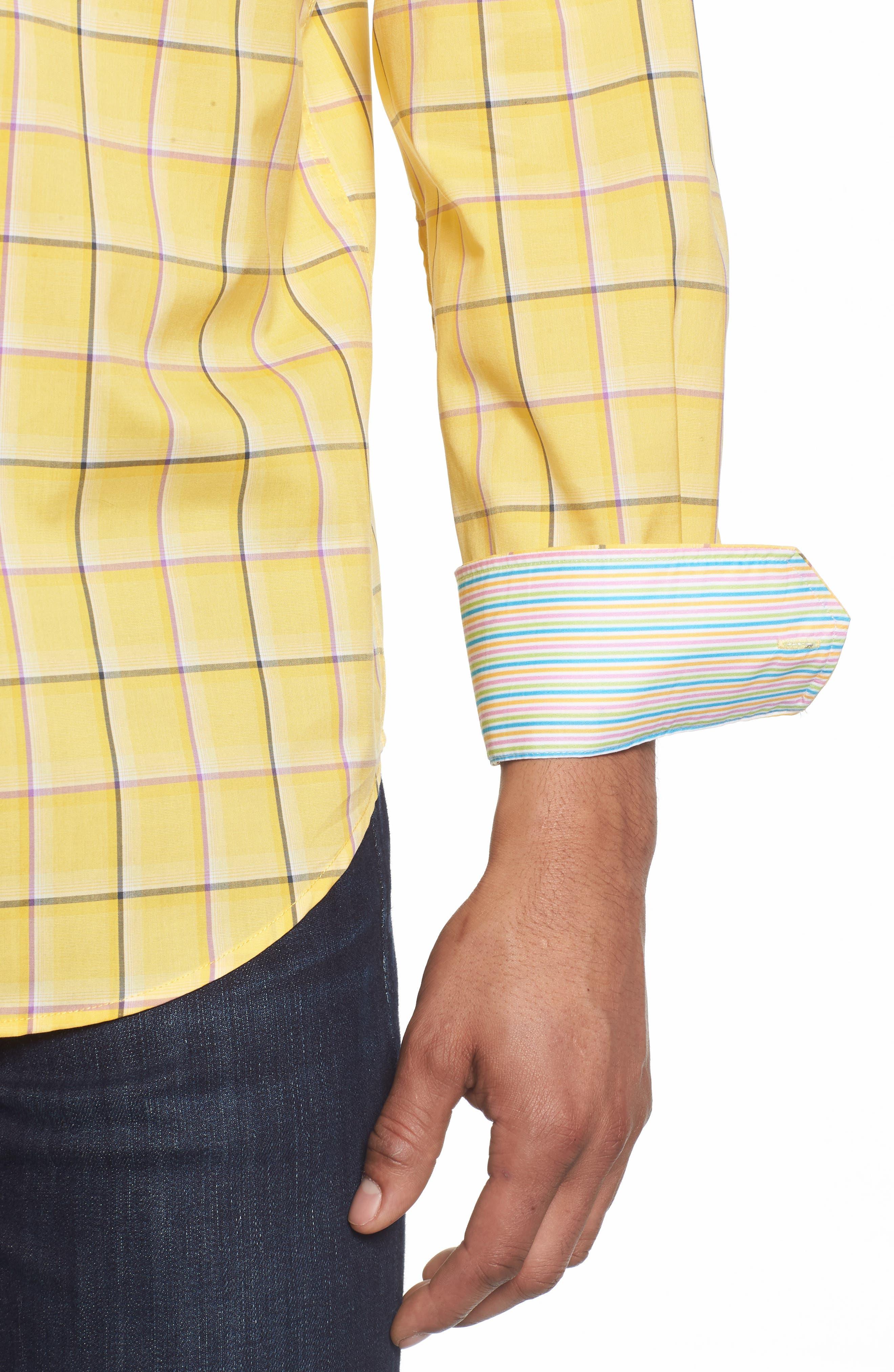 Classic Fit Check Sport Shirt,                             Alternate thumbnail 2, color,                             Lemon