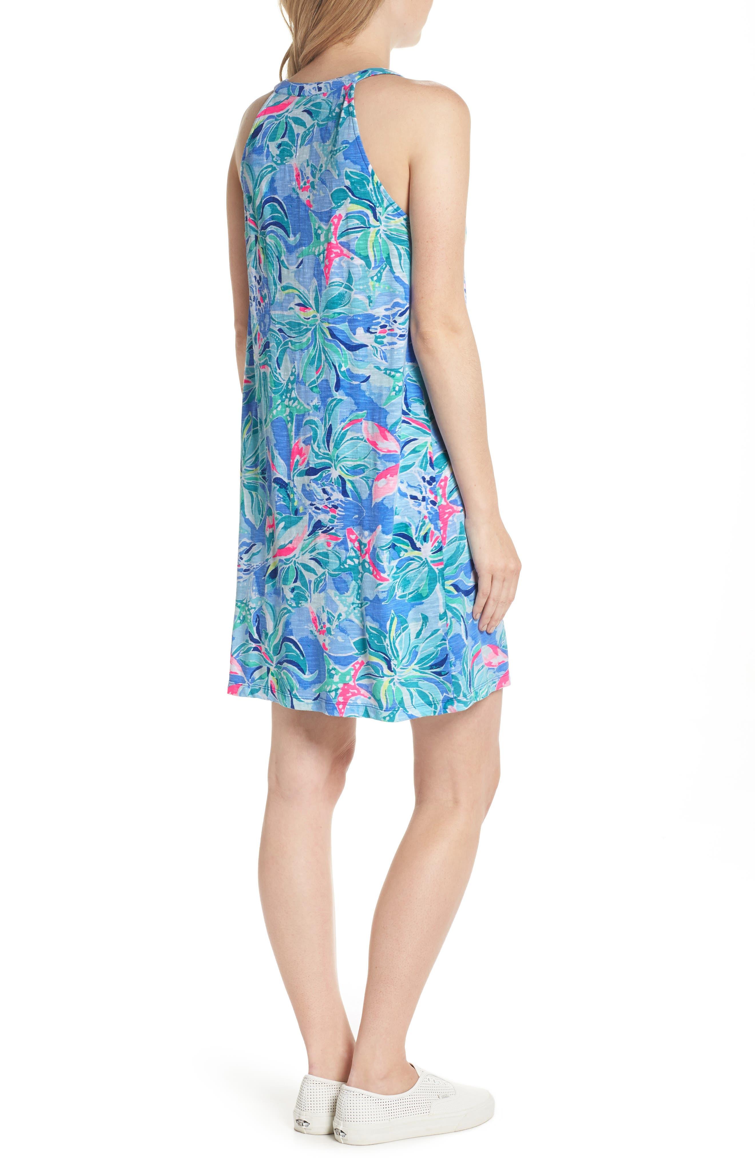 Shay Ruffle Halter Dress,                             Alternate thumbnail 2, color,                             Bennet Blue Celestial Seas