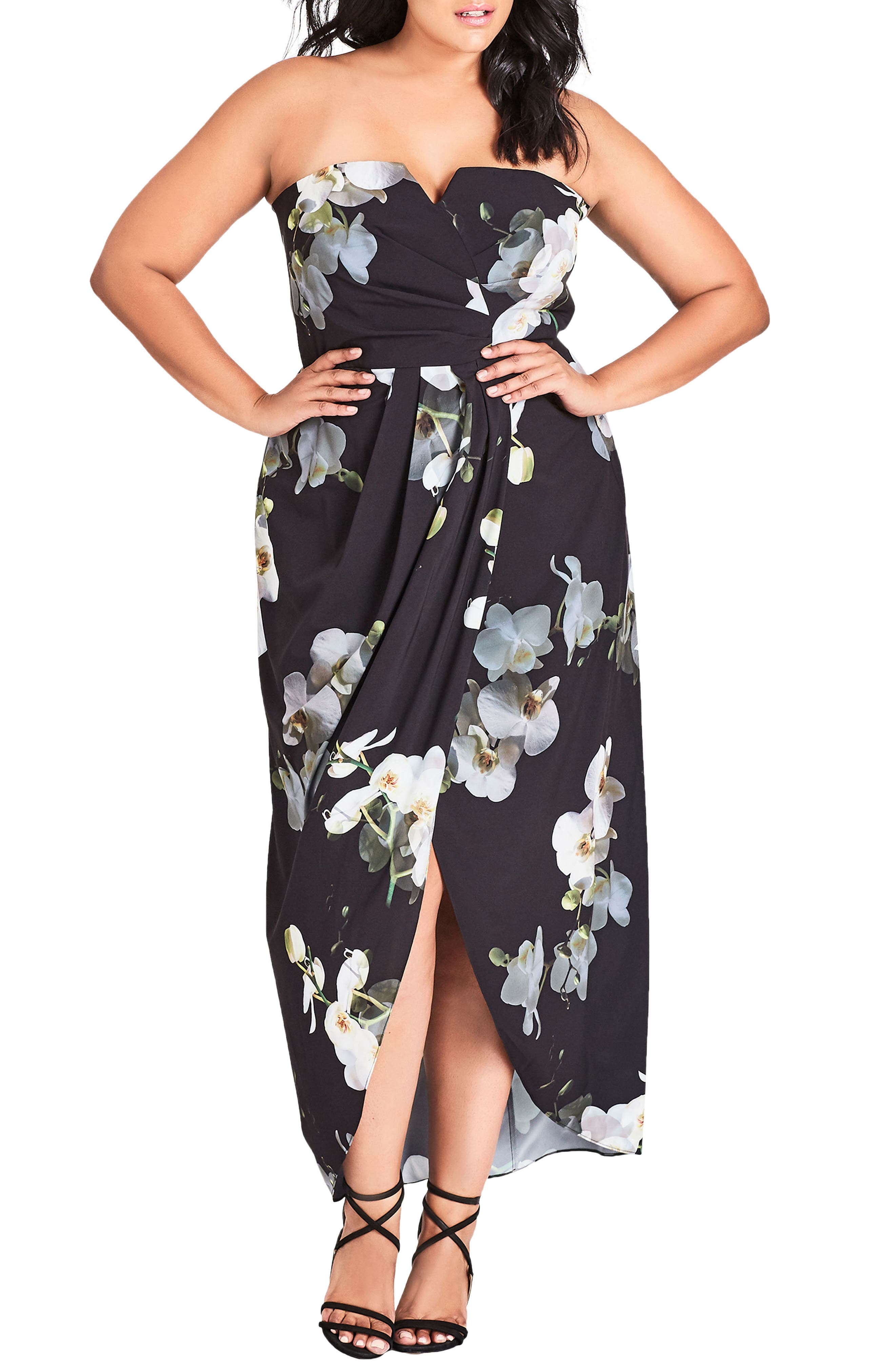 City Chic Orchid Dreams Strapless Maxi Dress (Plus Size)