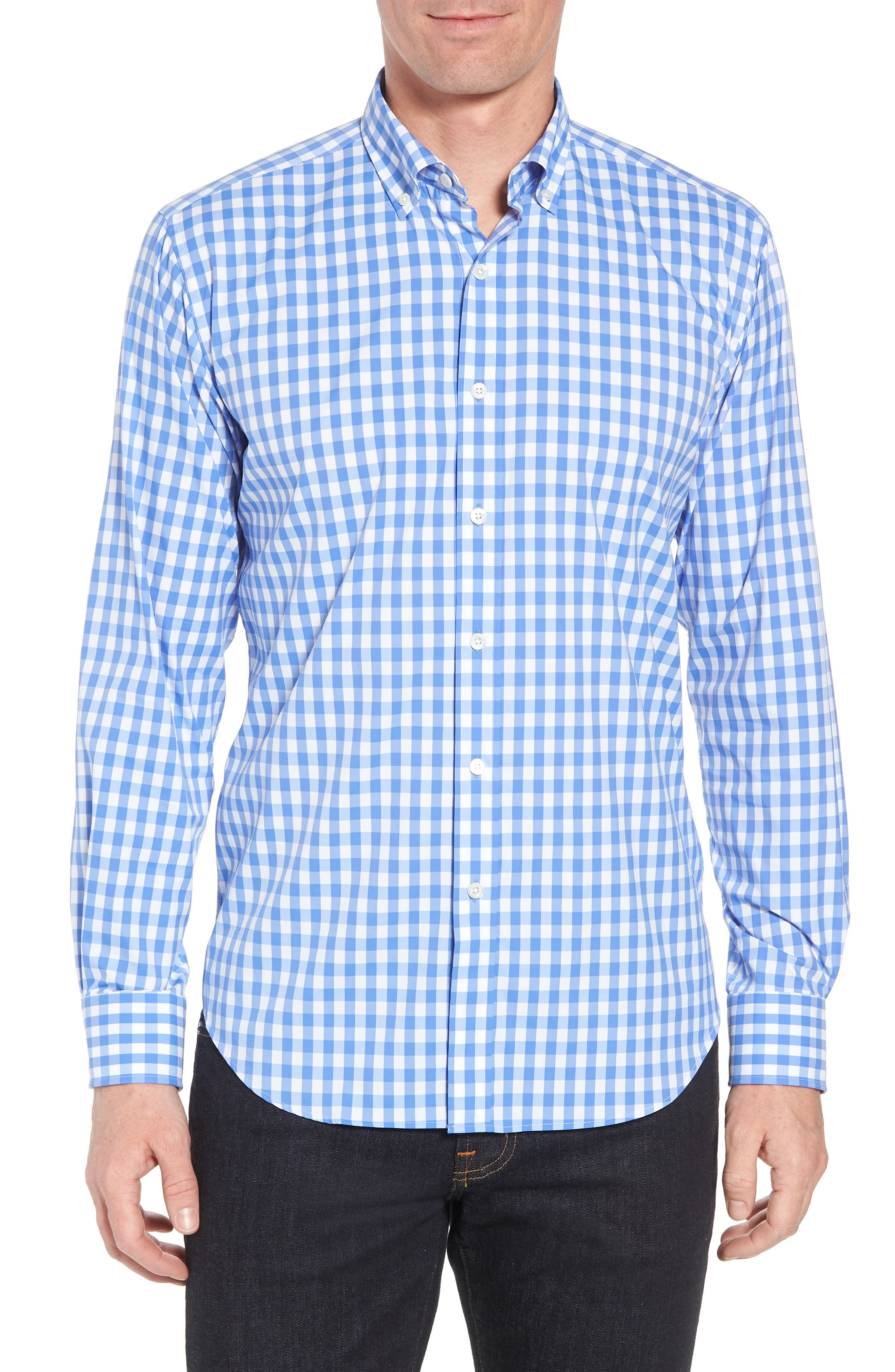 Shaped Fit Gingham Sport Shirt,                             Main thumbnail 1, color,                             Classic Blue