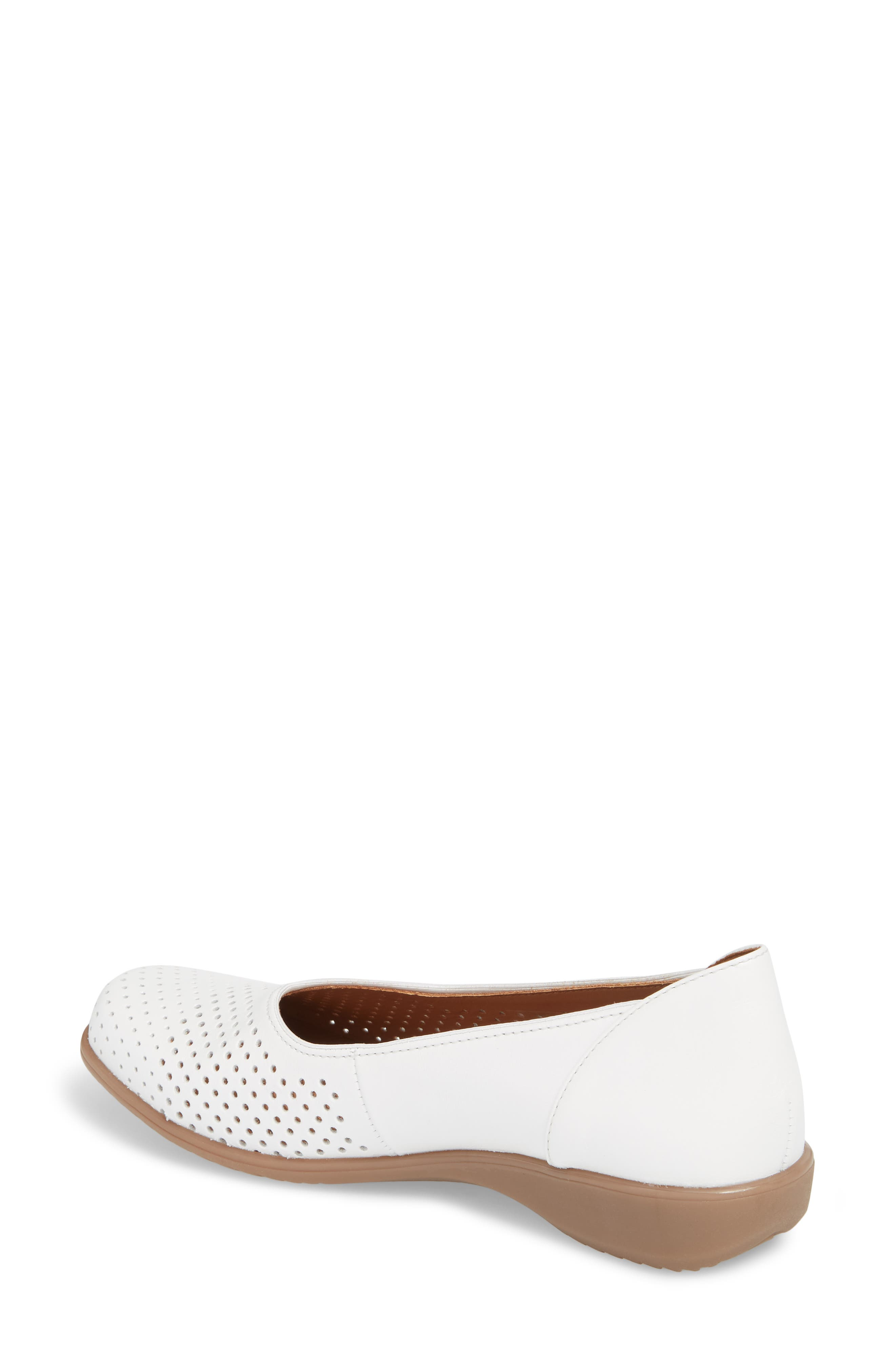 Avril Perforated Flat,                             Alternate thumbnail 2, color,                             White Pearl Leather