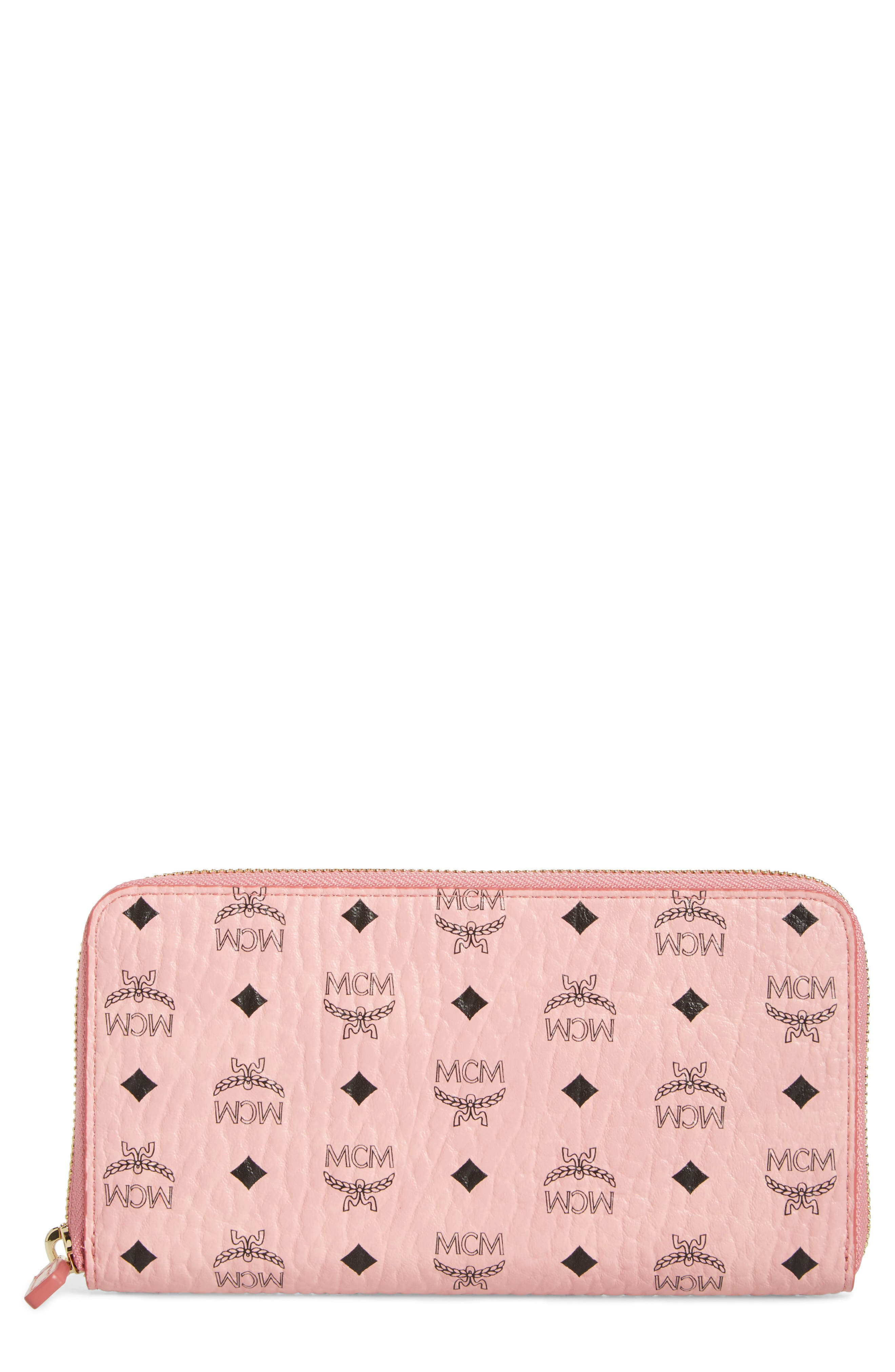 Visetos Coated Canvas Zip Wallet,                             Main thumbnail 1, color,                             Soft Pink