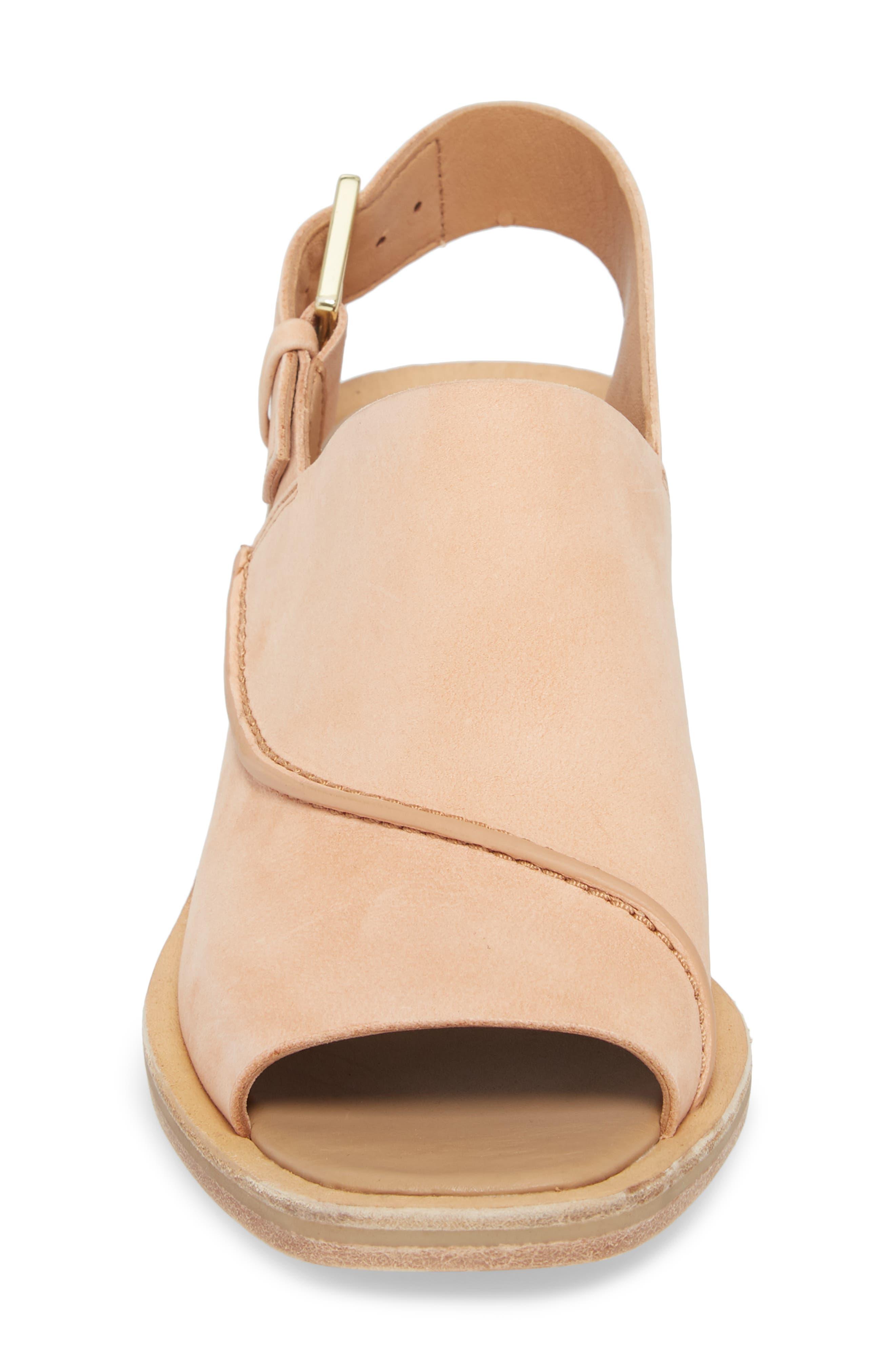 Clarks Bermudan Block Heel Sandal,                             Alternate thumbnail 4, color,                             Sandstone Nubuck Leather