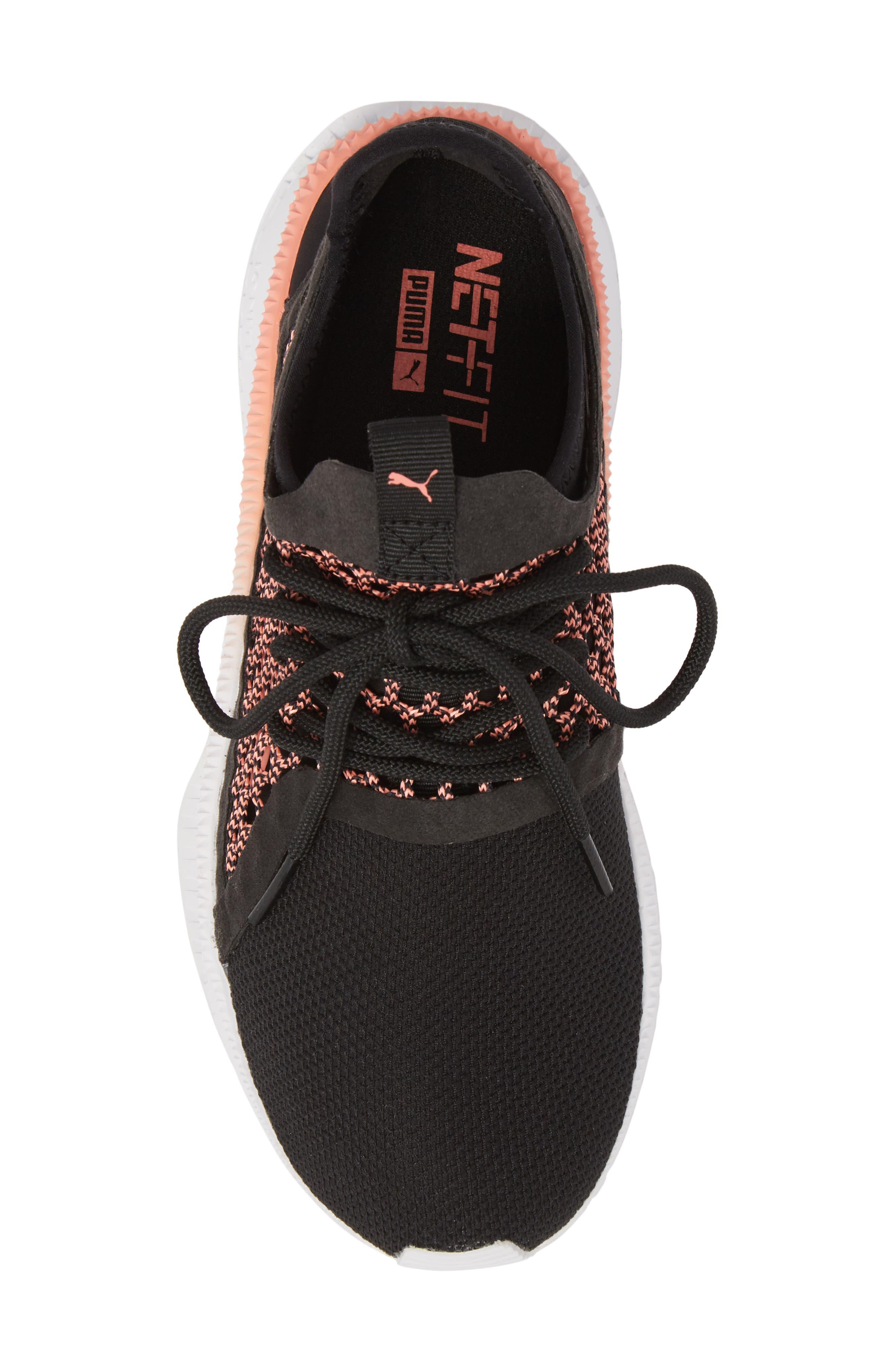 Tsugi Netfit evoKNIT Training Shoe,                             Alternate thumbnail 5, color,                             Black/ Shell Pink/ White