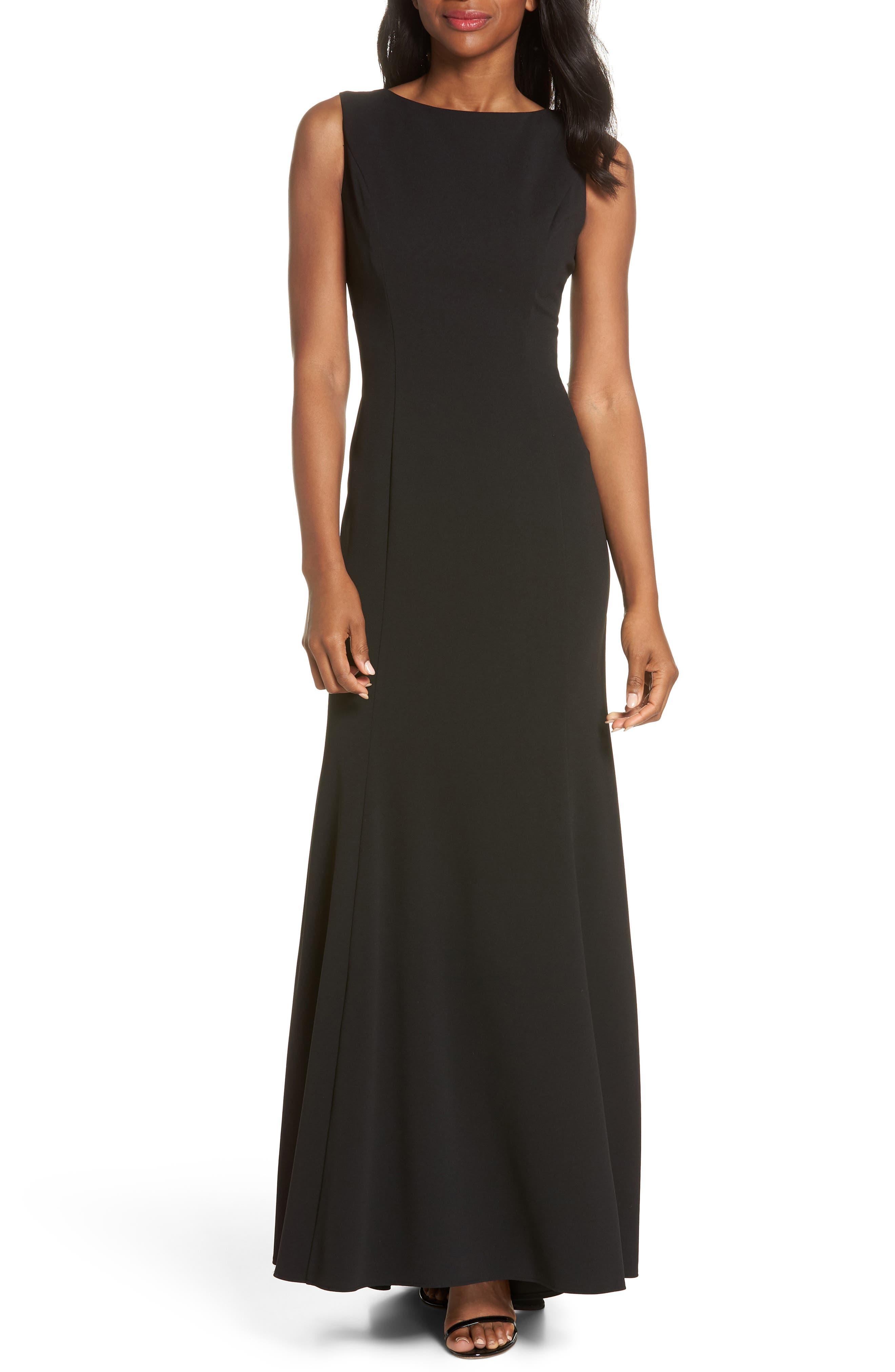 Ruffle Back Scuba Crepe Gown,                             Main thumbnail 1, color,                             Black