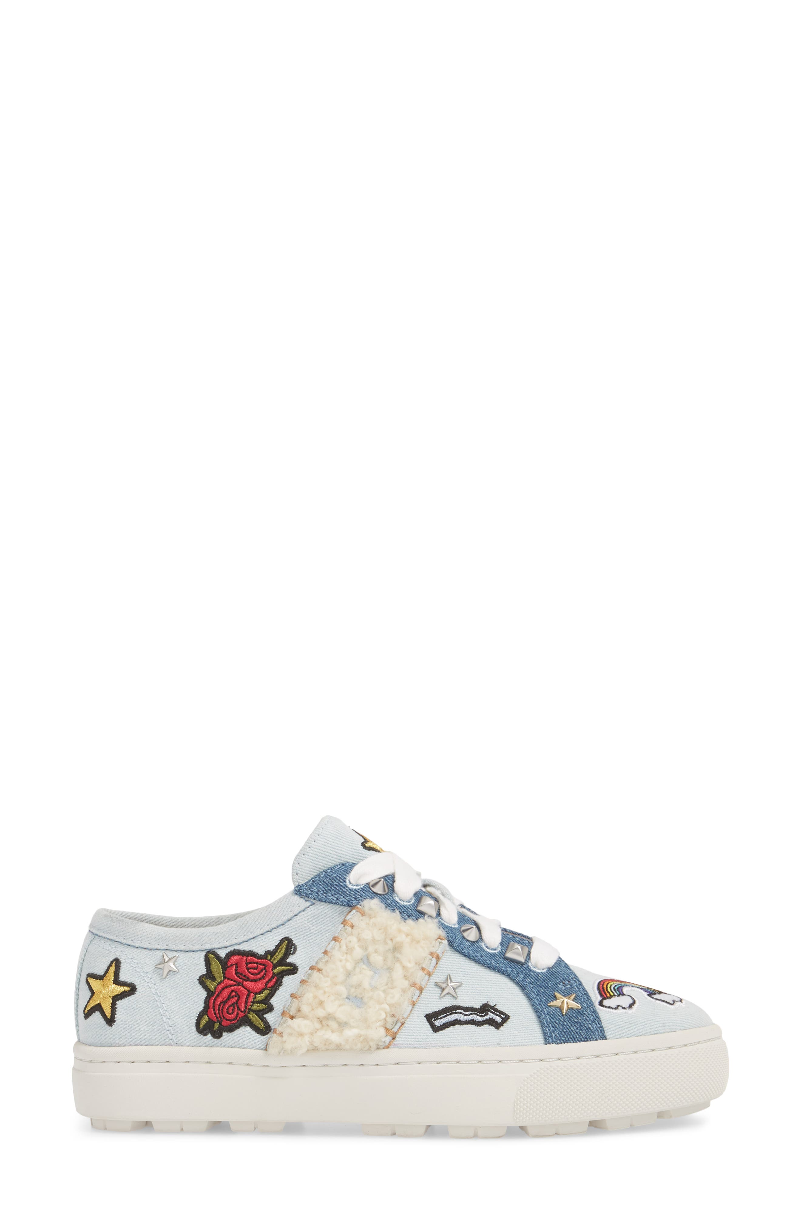 Patch It Genuine Shearling Trim Sneaker,                             Alternate thumbnail 3, color,                             Bleach Denim