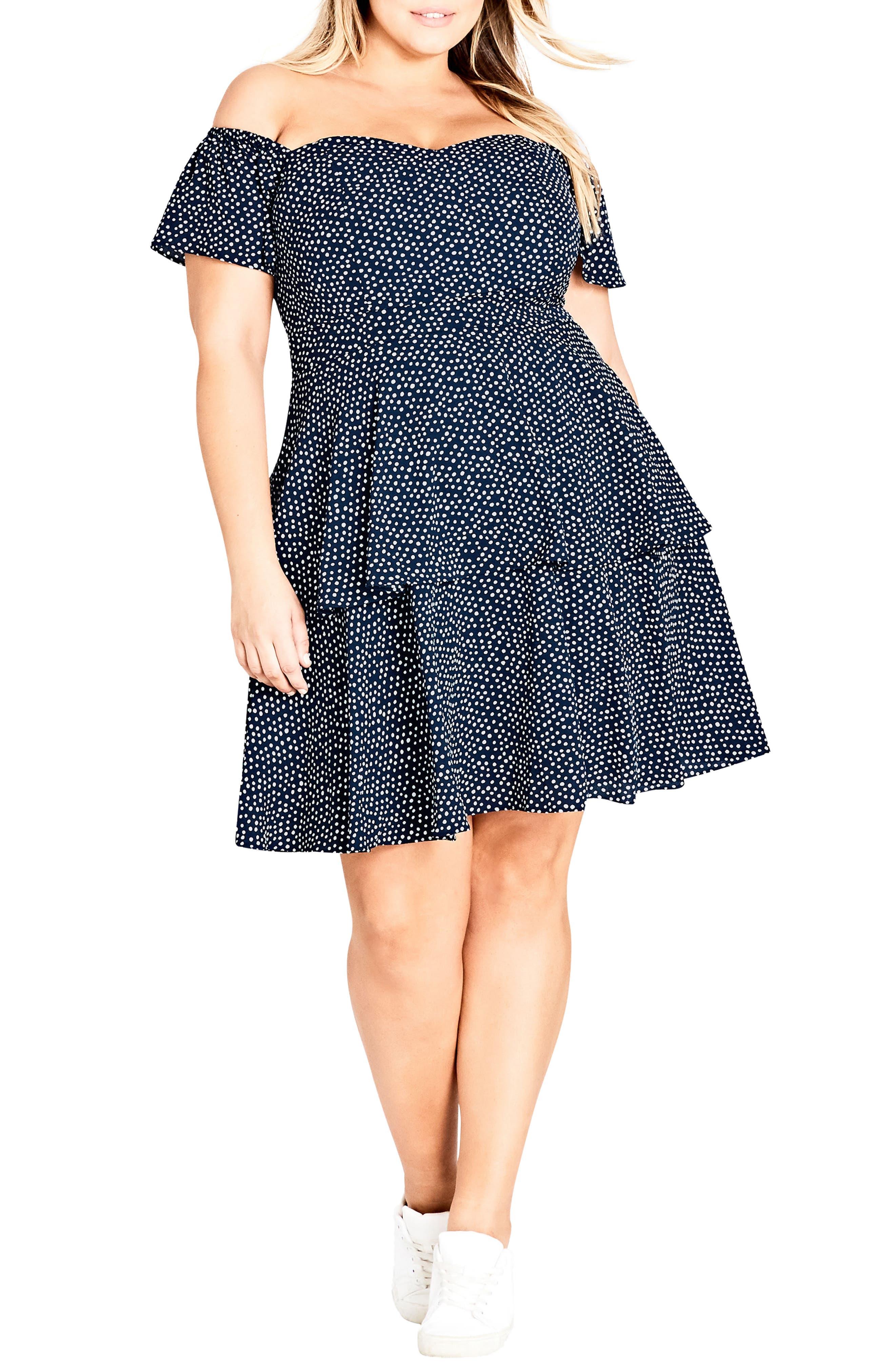Spot Off the Shoulder Dress,                         Main,                         color, Navy Spot
