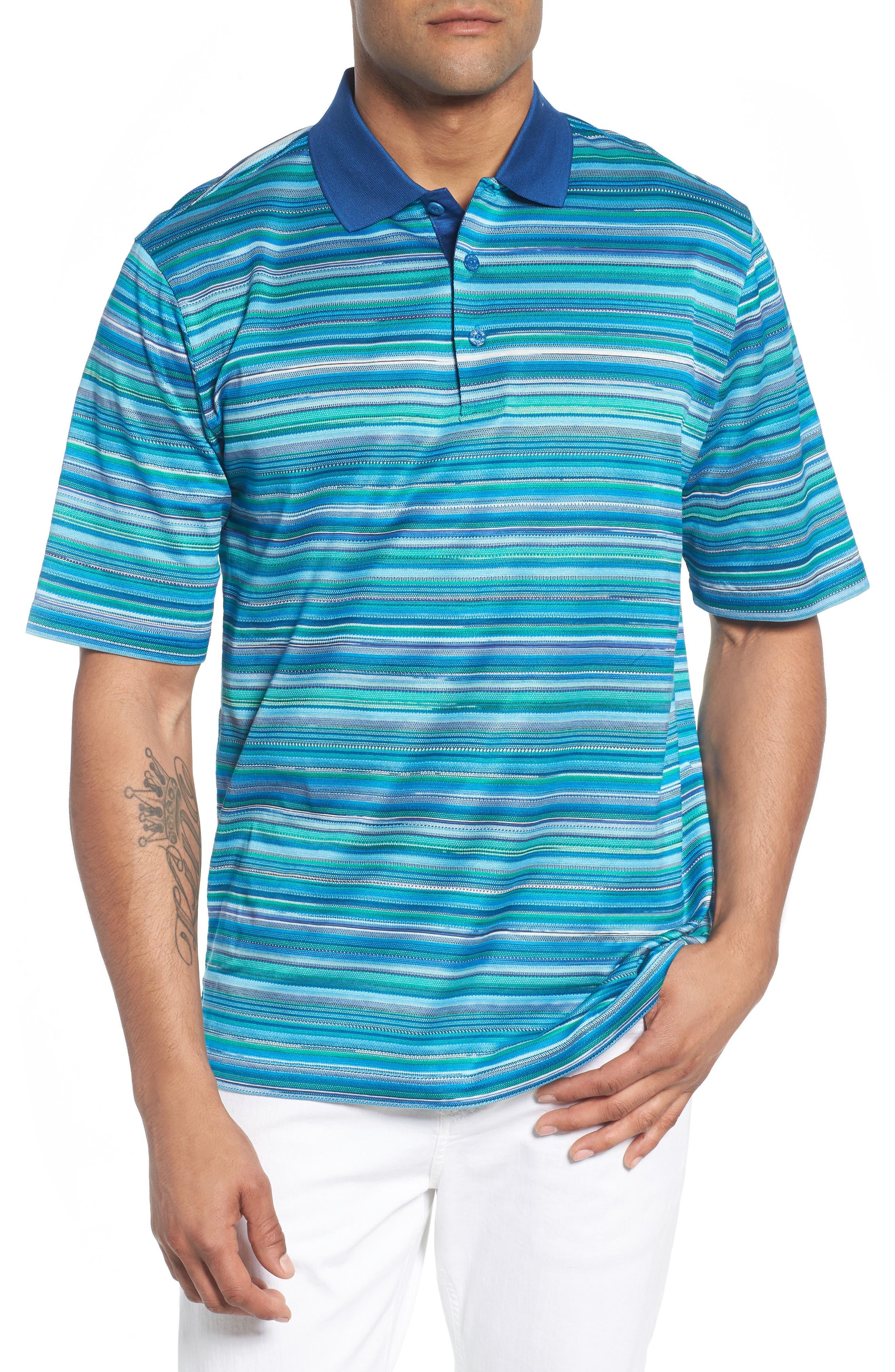 Stripe Mercerized Cotton Polo,                         Main,                         color, Paradise
