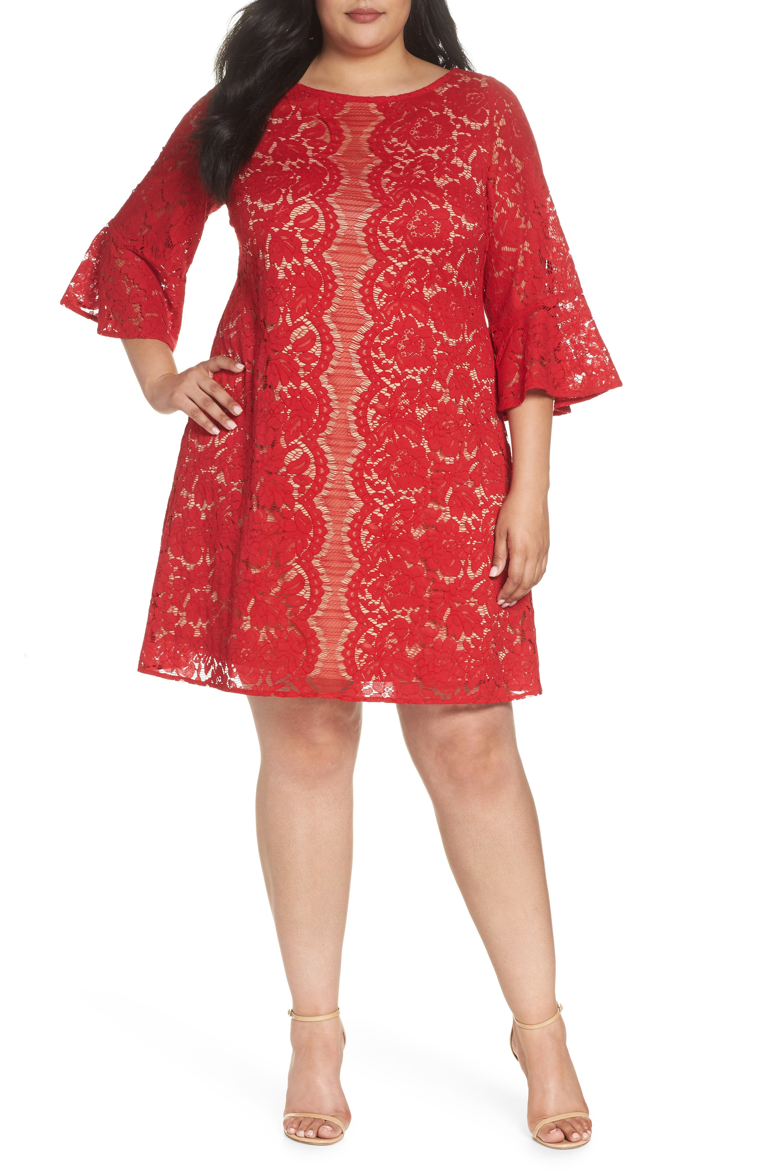Bell Sleeve Lace Trapeze Dress,                         Main,                         color, Red/ Cafe Mocha