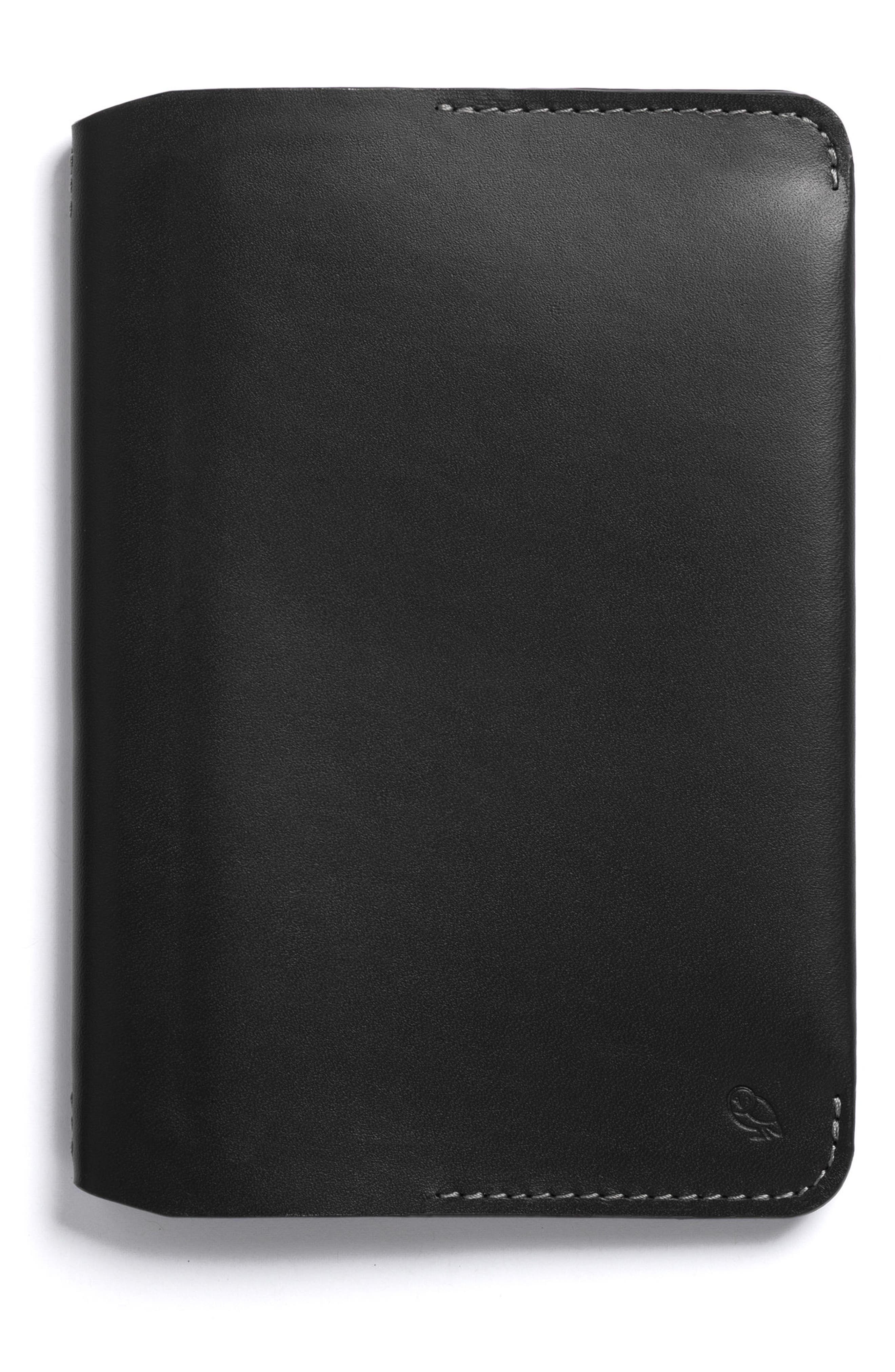 Mini Leather Notebook Cover,                             Alternate thumbnail 3, color,                             Black