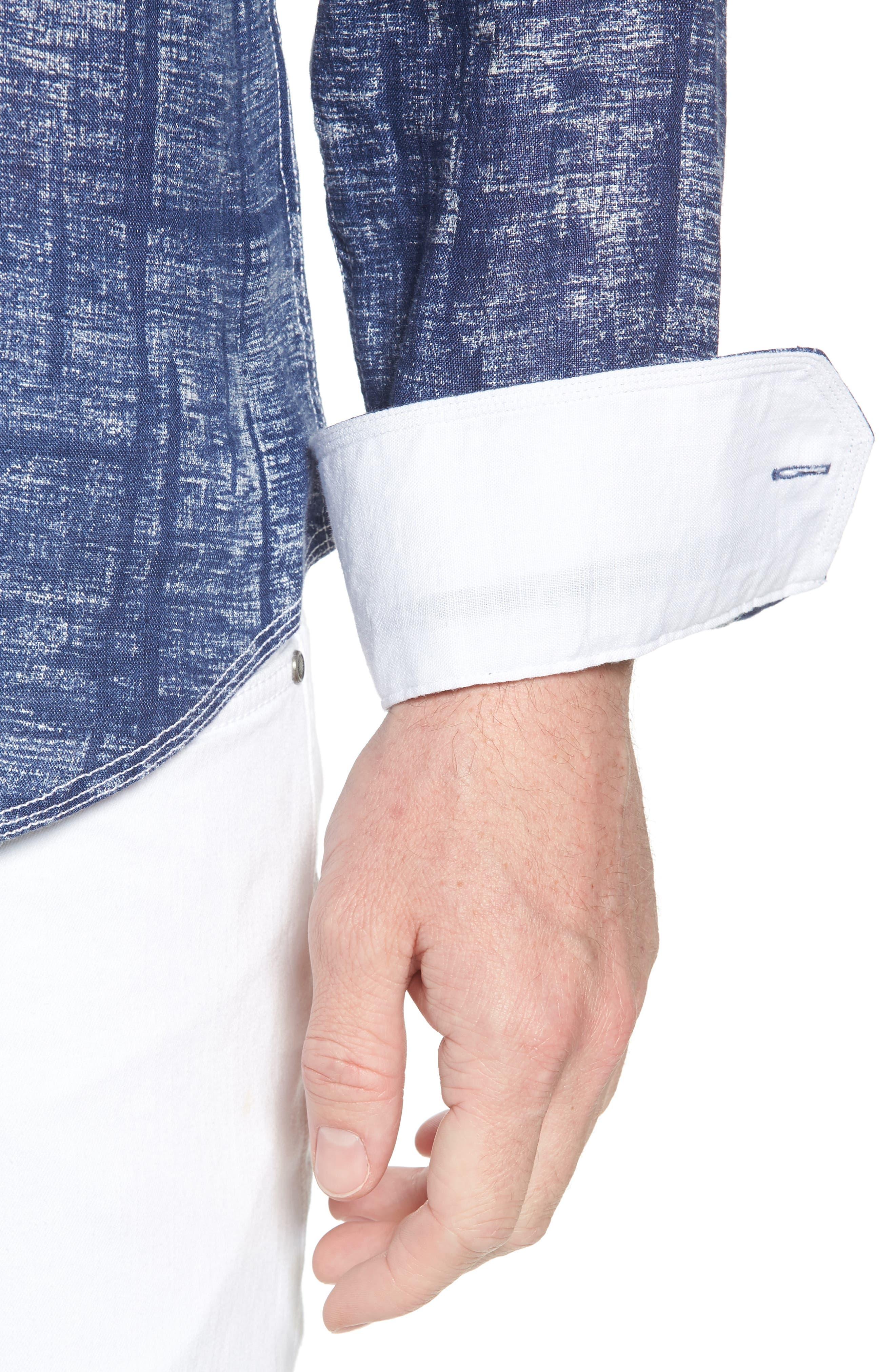 Shaped Fit Linen Sport Shirt,                             Alternate thumbnail 2, color,                             Navy