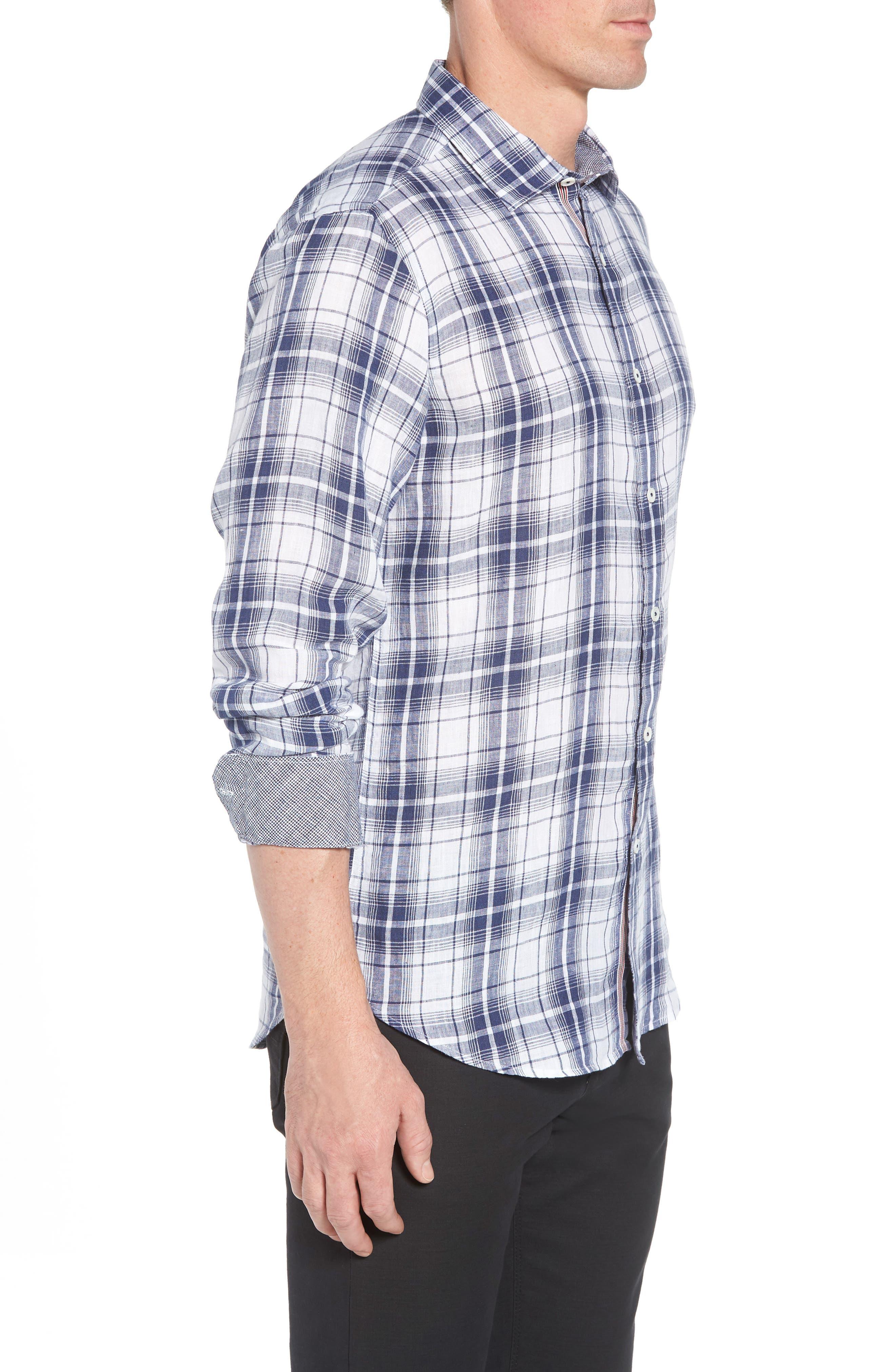 Shaped Fit Plaid Linen Sport Shirt,                             Alternate thumbnail 4, color,                             Navy