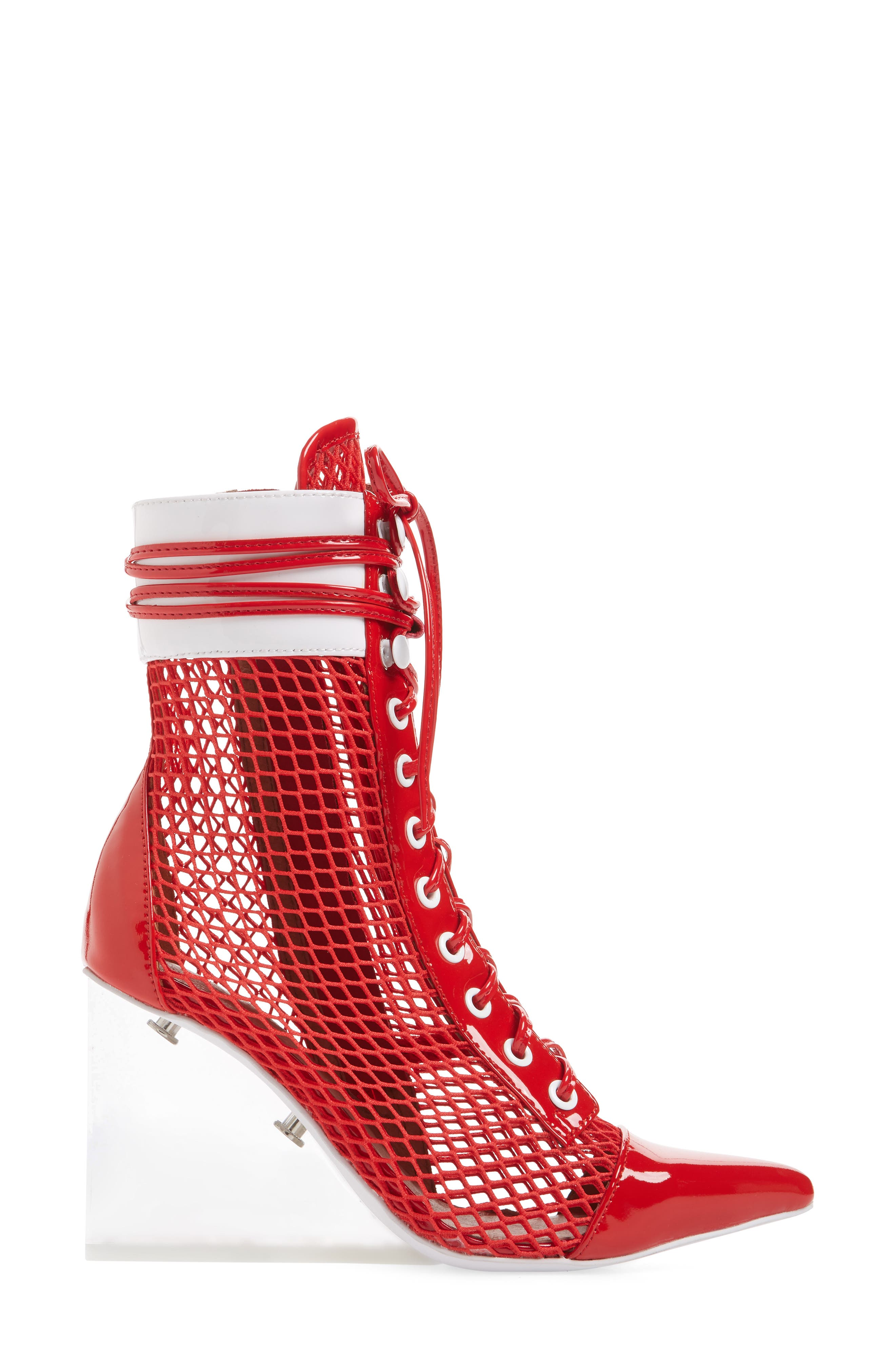 Cardi Mesh Bootie,                             Alternate thumbnail 3, color,                             Red/ White/ Clear