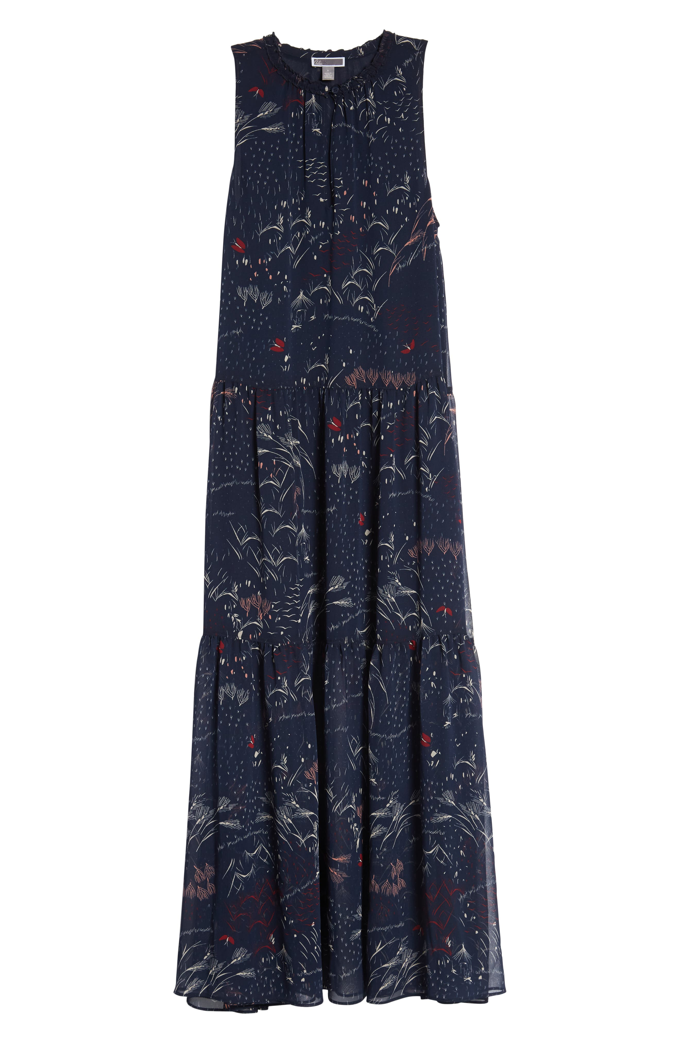 Print Tiered Maxi Dress,                             Alternate thumbnail 7, color,                             Navy Blazer Feather Grass