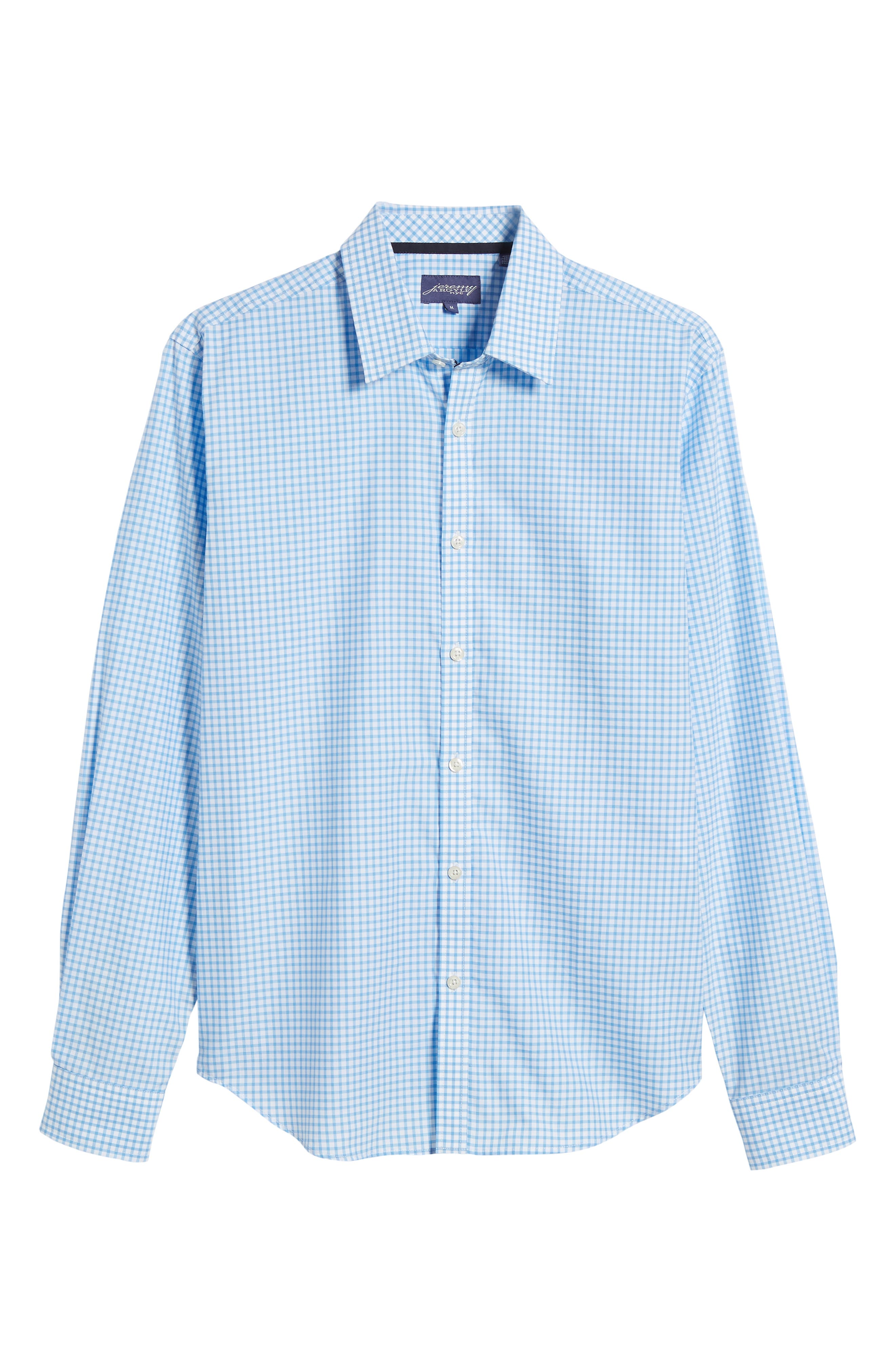 Slim Fit Check Sport Shirt,                             Alternate thumbnail 6, color,                             Light Blue