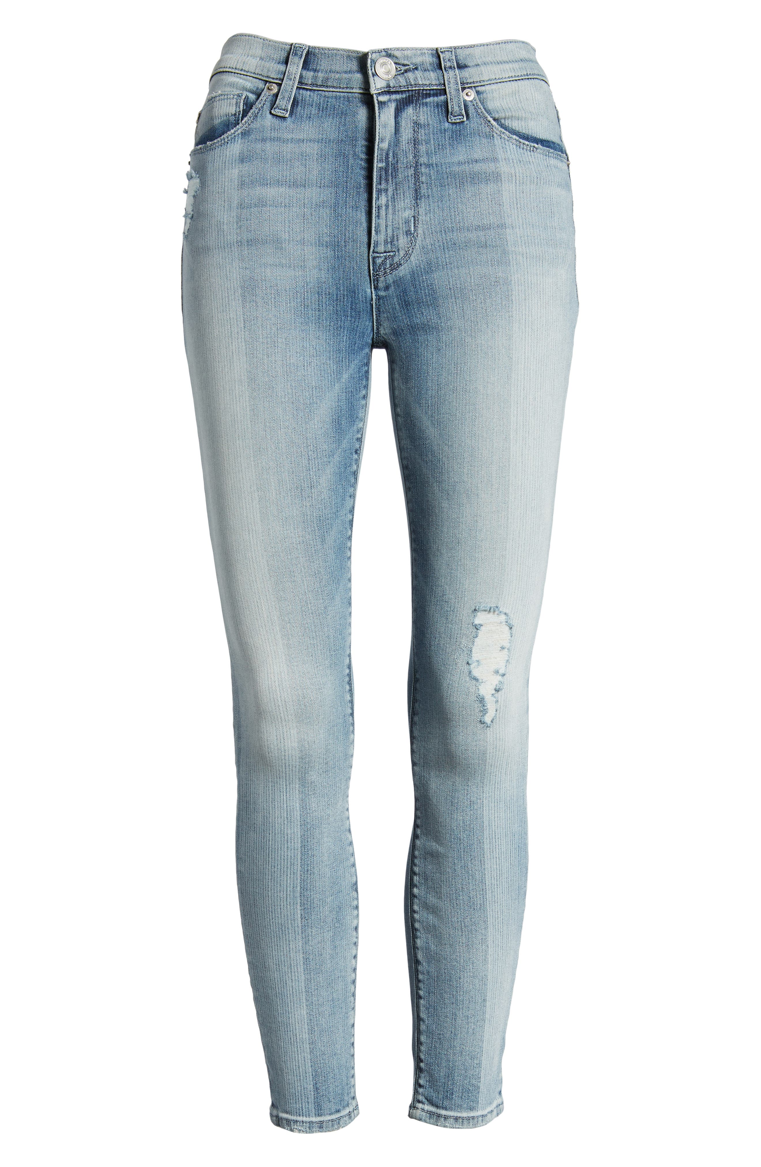 Barbara High Waist Crop Skinny Jeans,                             Alternate thumbnail 7, color,                             Purest Expression