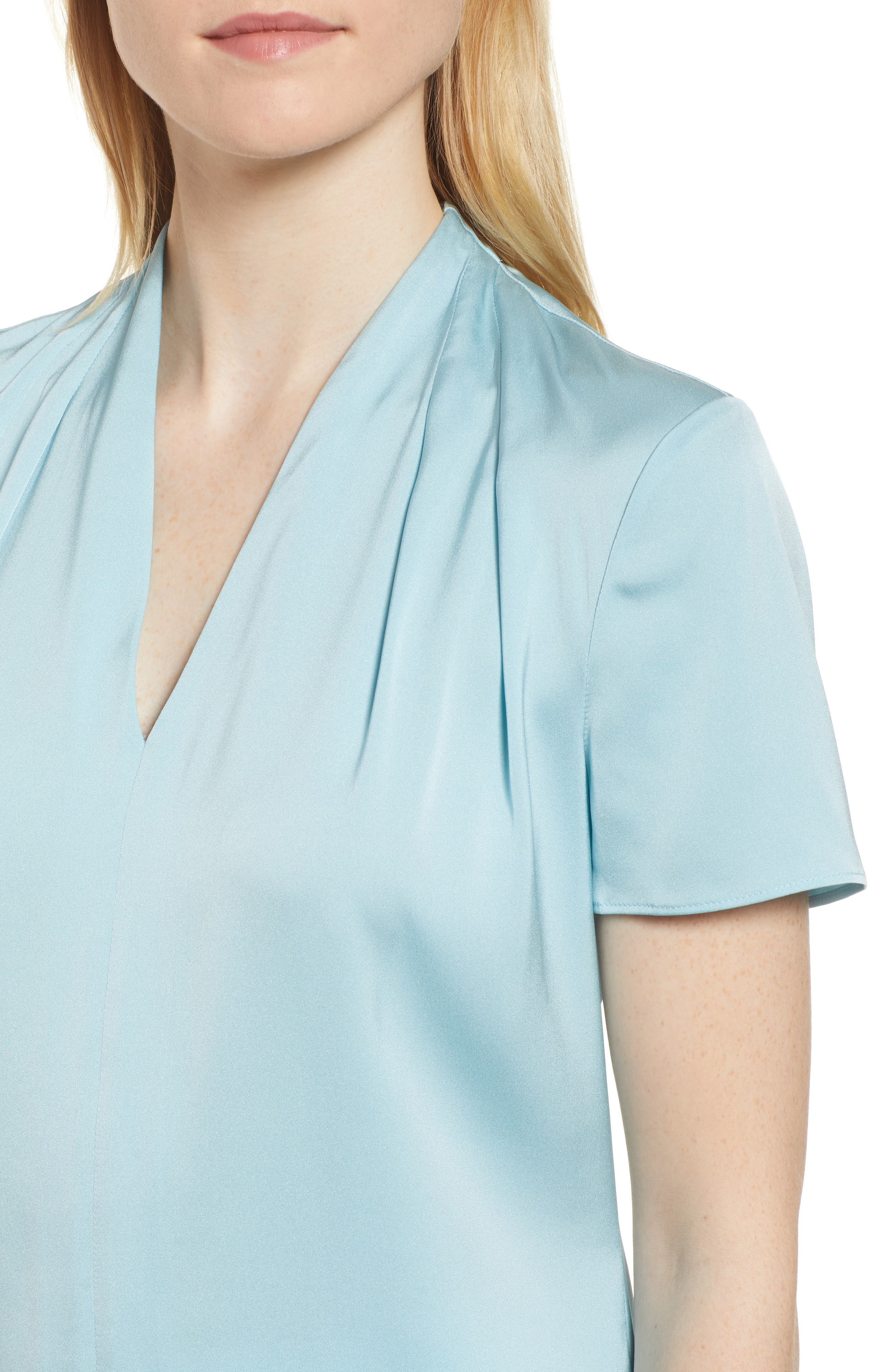Insina Stretch Silk Blouse,                             Alternate thumbnail 4, color,                             Lagoon Blue