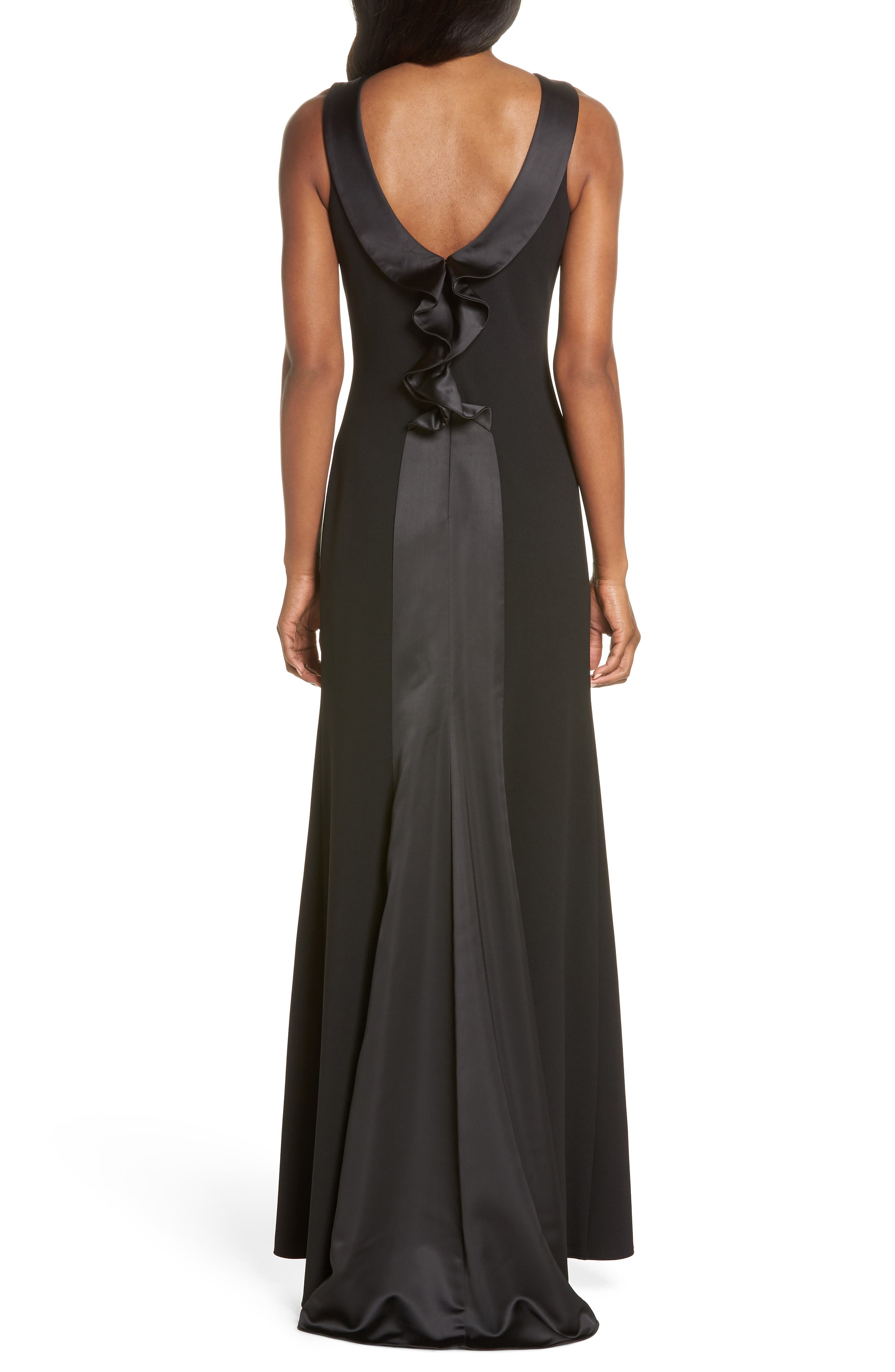 Ruffle Back Scuba Crepe Gown,                             Alternate thumbnail 2, color,                             Black