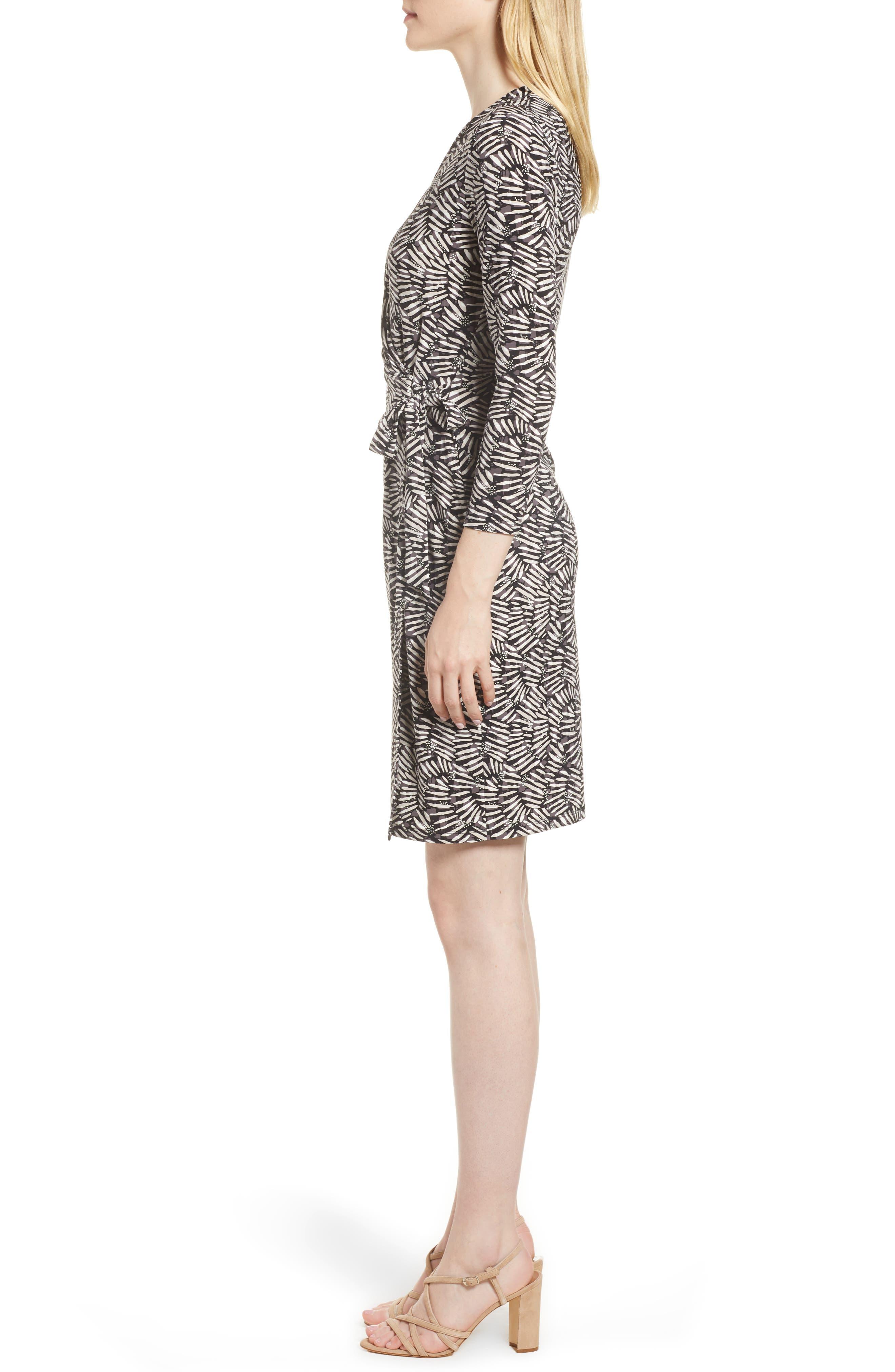 Cedarwood Stretch Crepe Faux Wrap Dress,                             Alternate thumbnail 3, color,                             Black/ Oyster Shell Combo