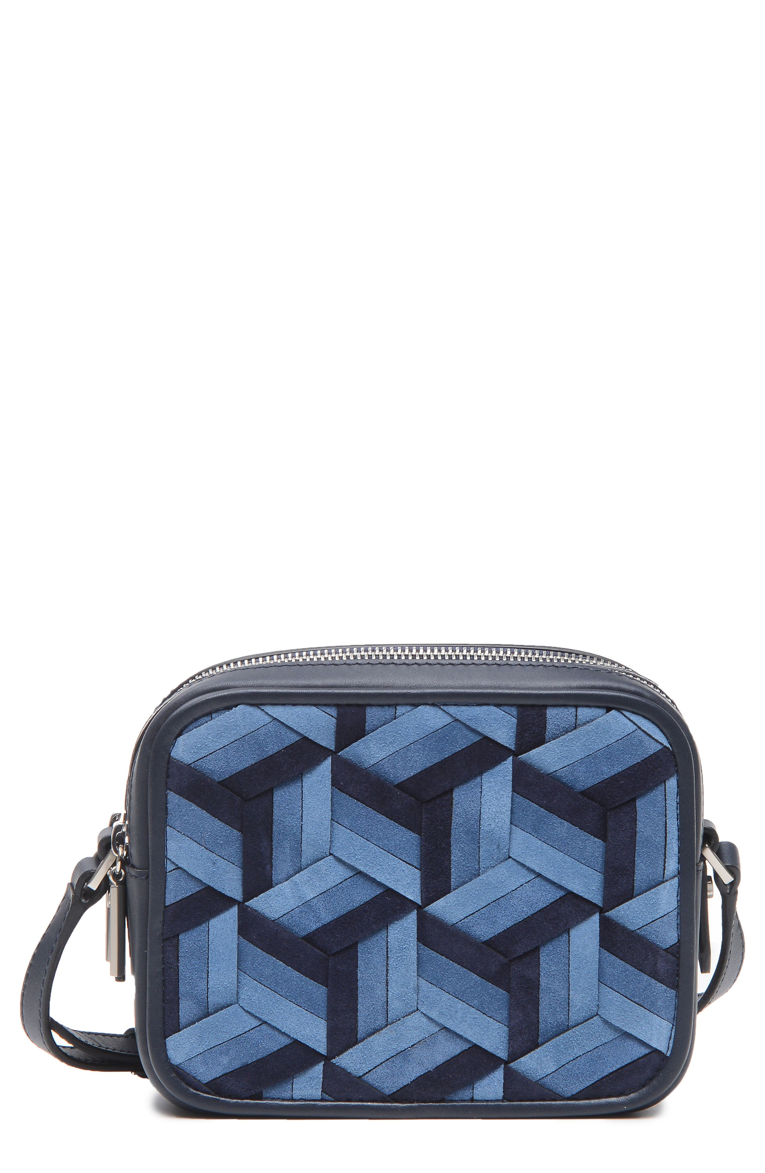 Explorer Woven Leather Camera Bag,                             Main thumbnail 1, color,                             Navy/ Ocean/ Sky