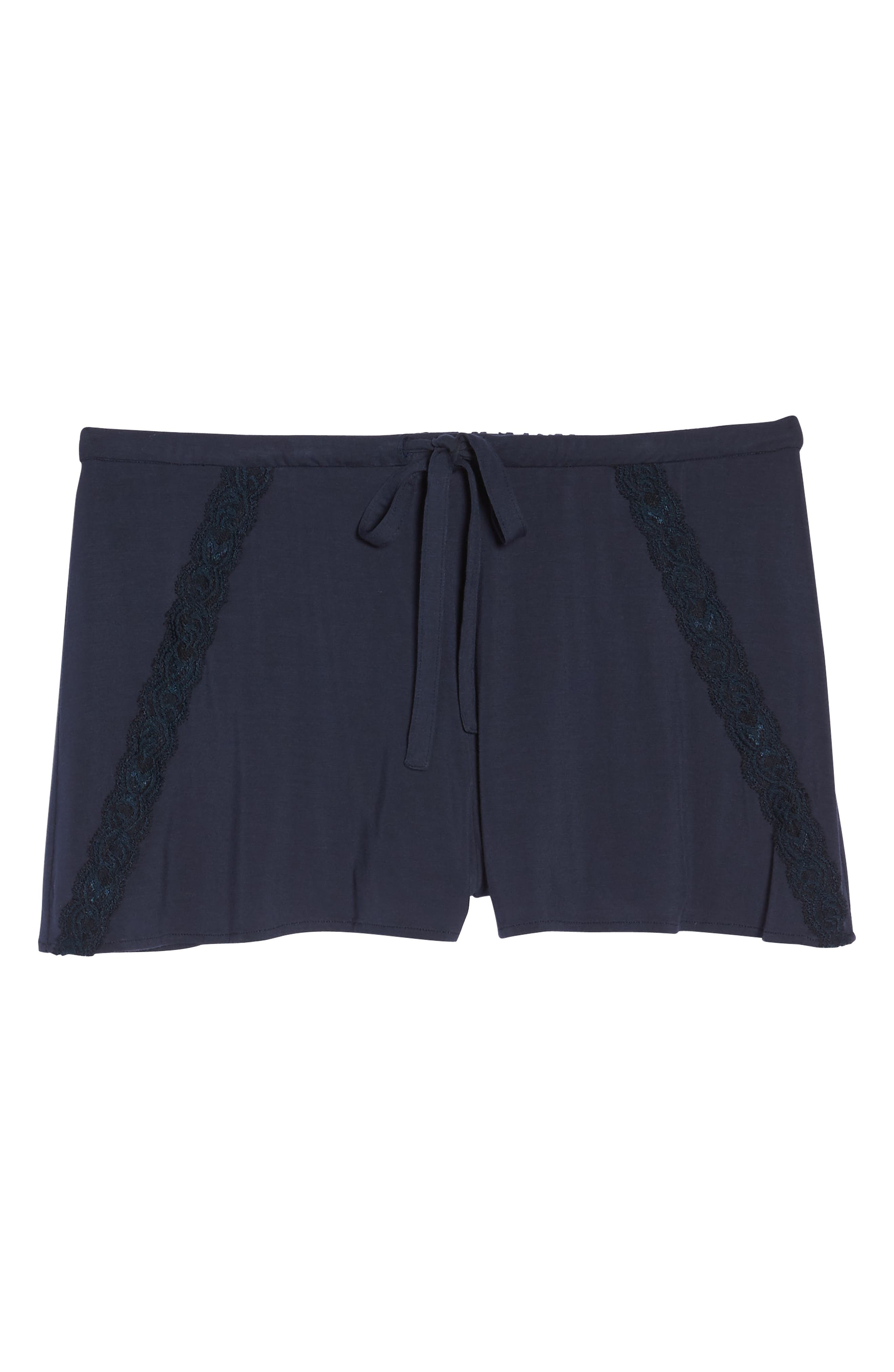Feathers Essential Pajama Shorts,                             Alternate thumbnail 7, color,                             Night Blue