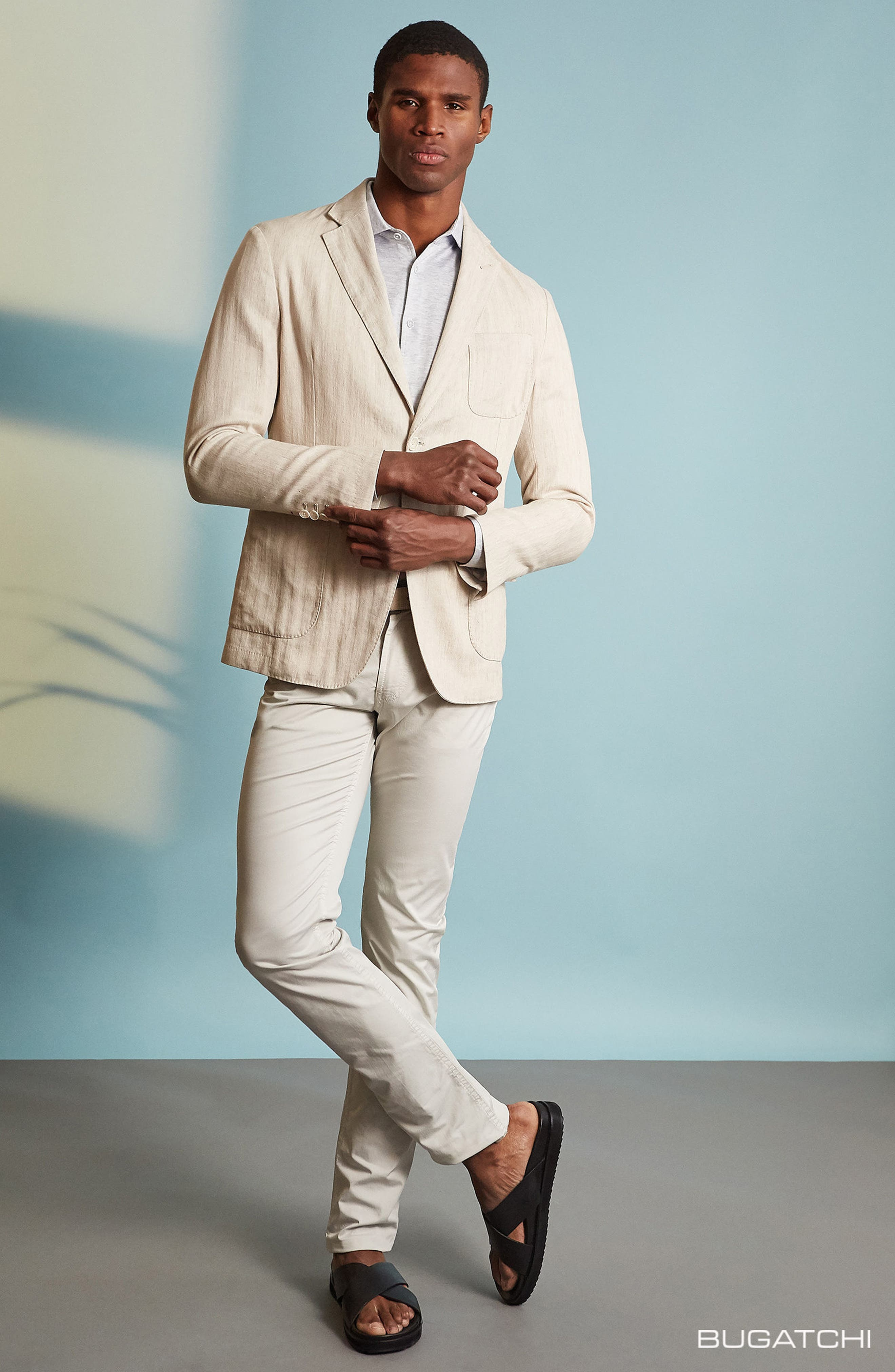 Alternate Image 7  - Bugatchi Regular Fit Herringbone Cotton & Linen Blazer