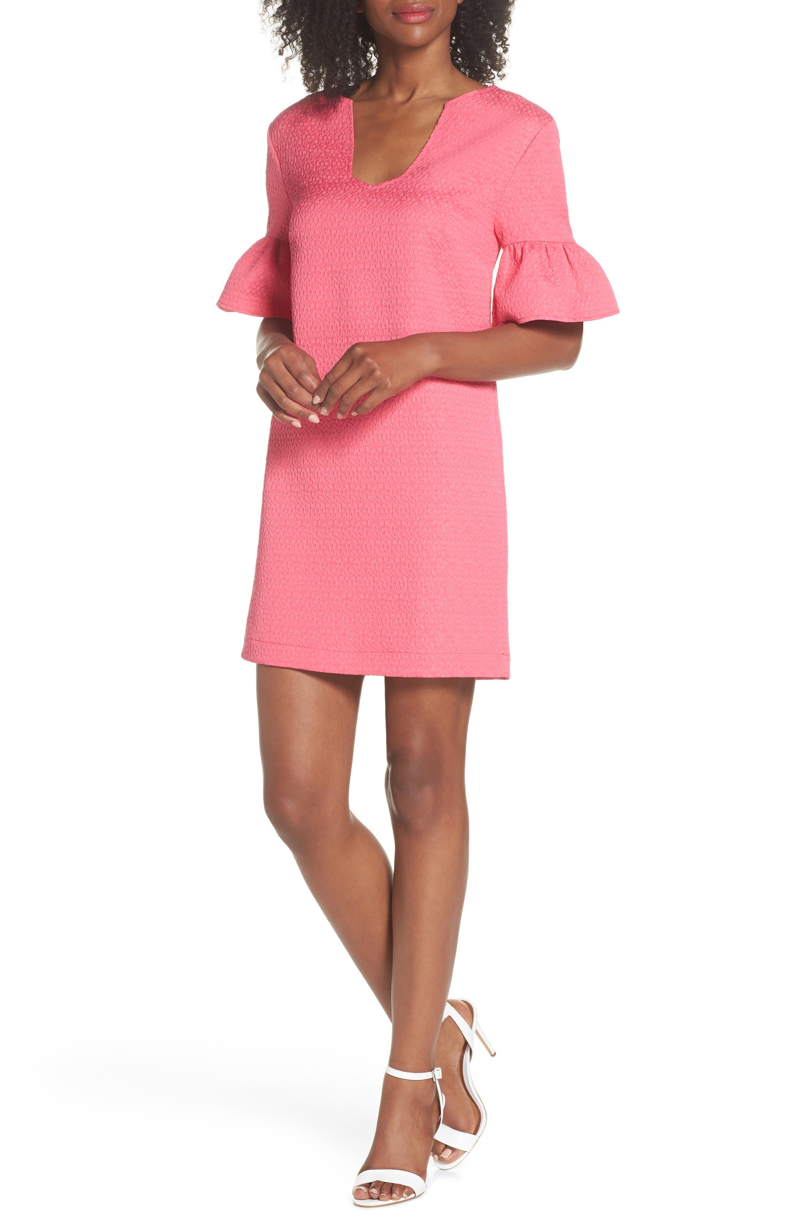trina Trina Turk Laguna Ruffle Sleeve Shift Dress