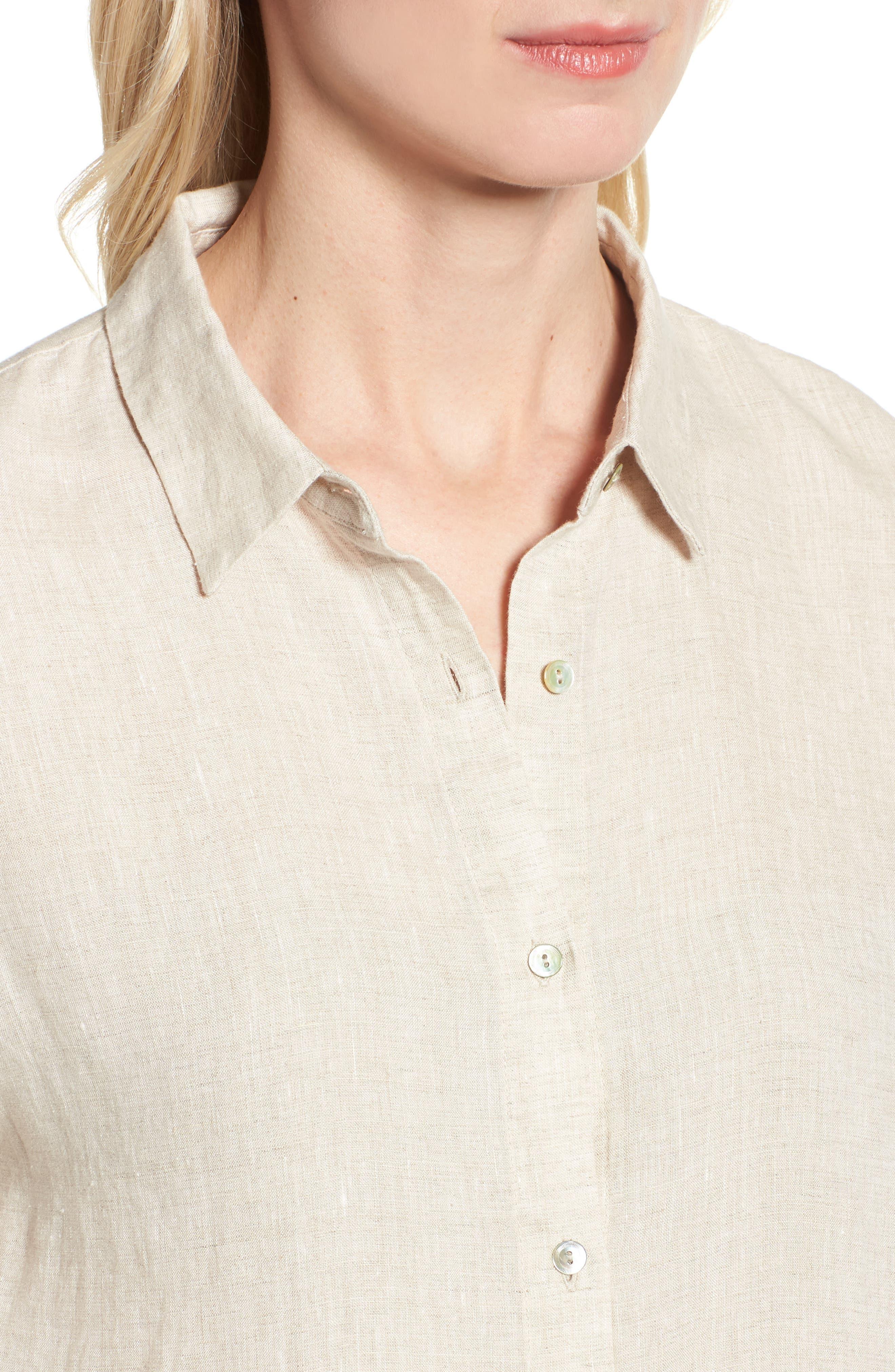 Organic Linen Shirt,                             Alternate thumbnail 4, color,                             Natural