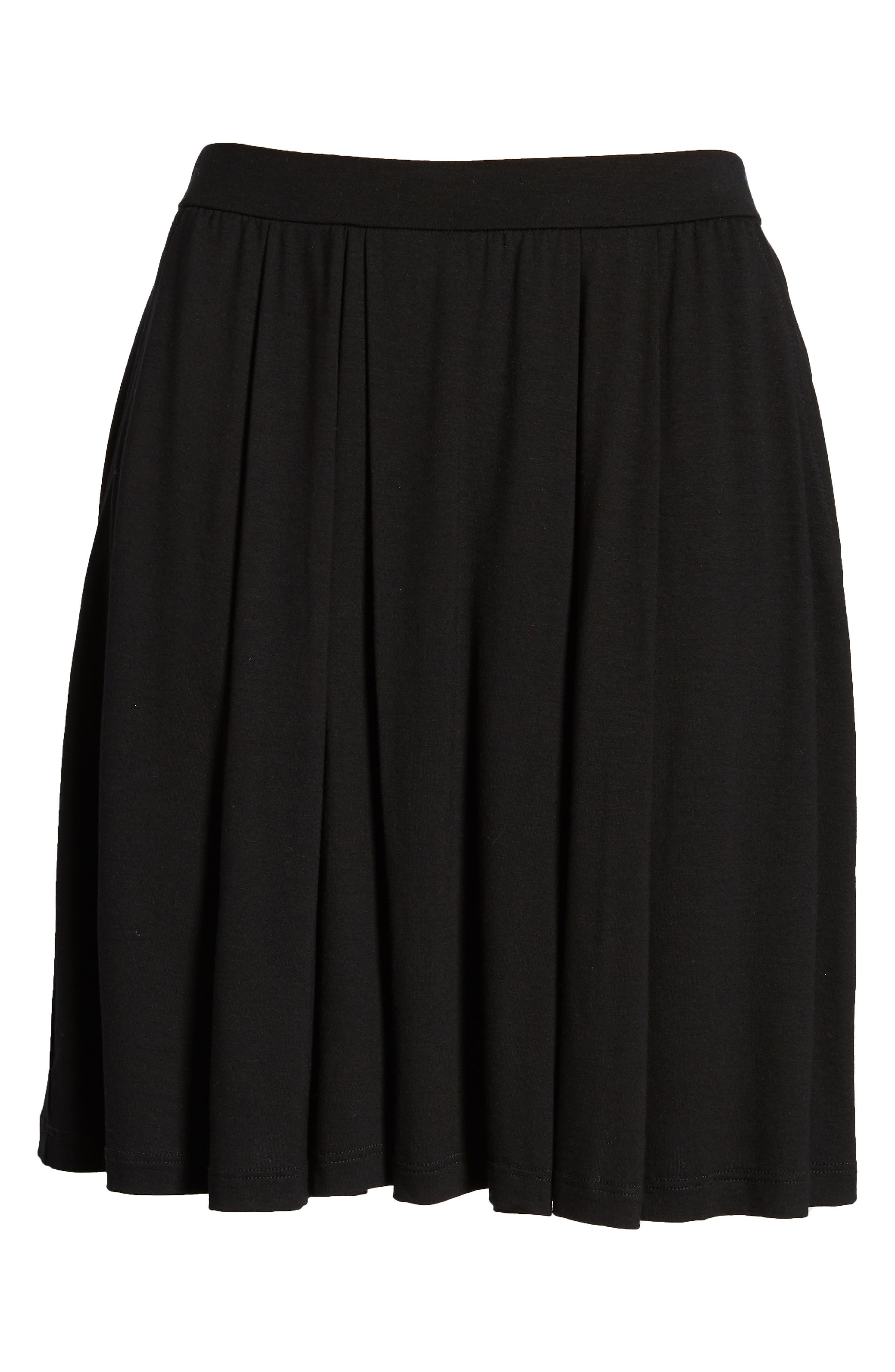 Pleated Jersey Walking Shorts,                             Alternate thumbnail 6, color,                             Black