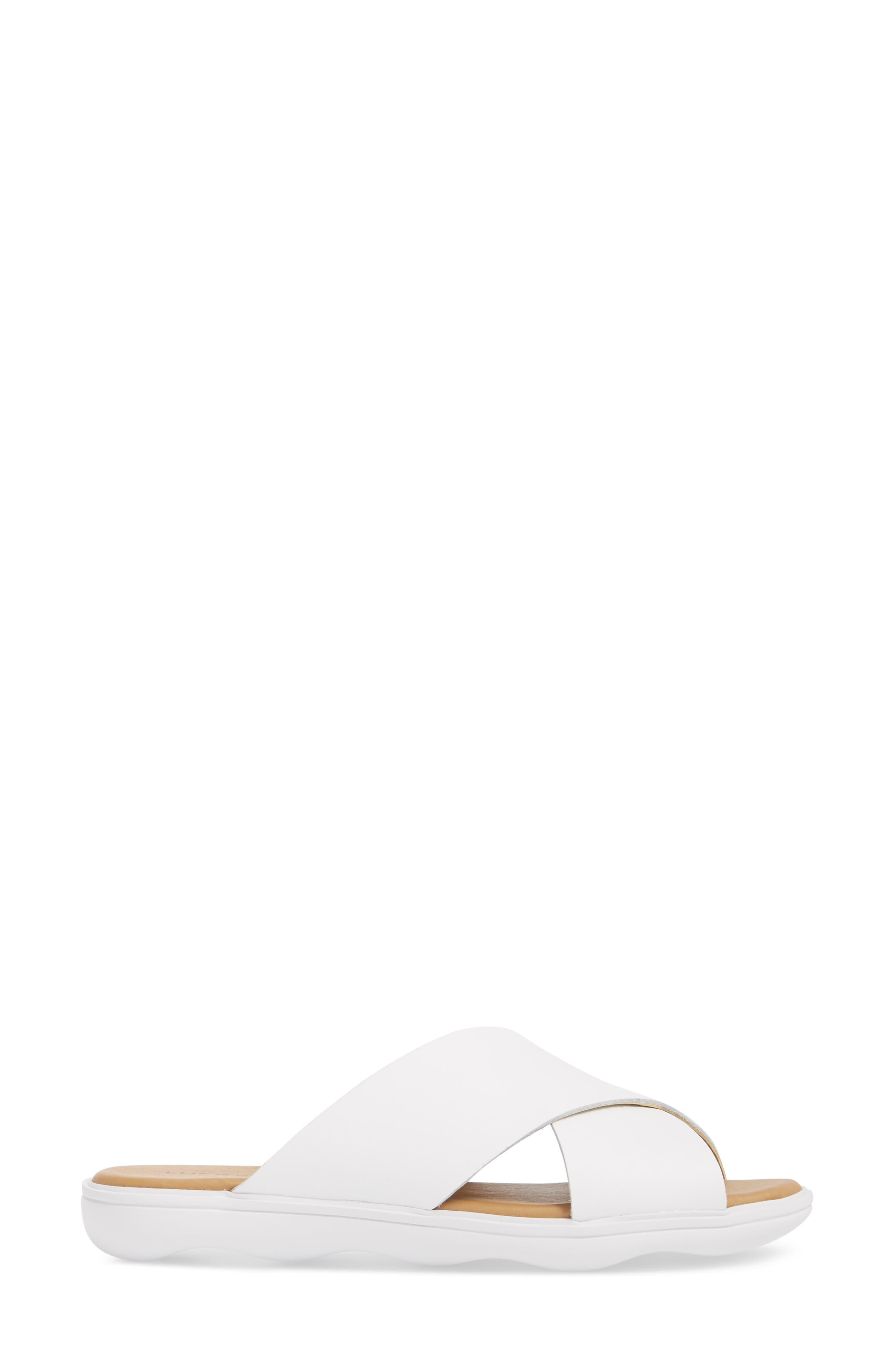 Mahlay Slide Sandal,                             Alternate thumbnail 3, color,                             Optic White Leather
